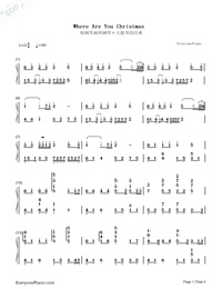 Where Are You Christmas-Faith Hill Numbered Musical Notation Preview 1