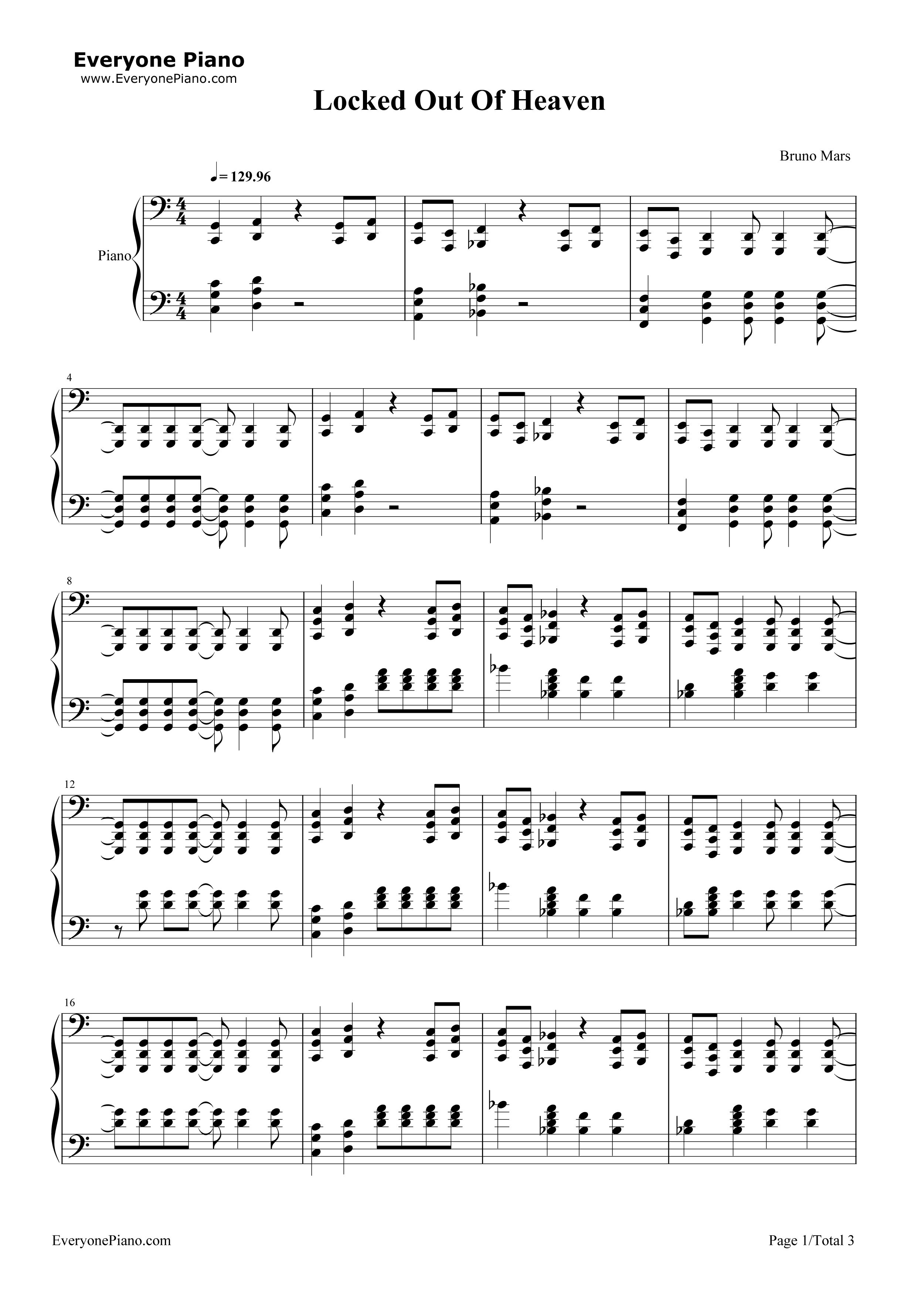 Locked Out Of Heaven-Bruno Mars Stave Preview 1-Free Piano Sheet Music u0026 Piano Chords