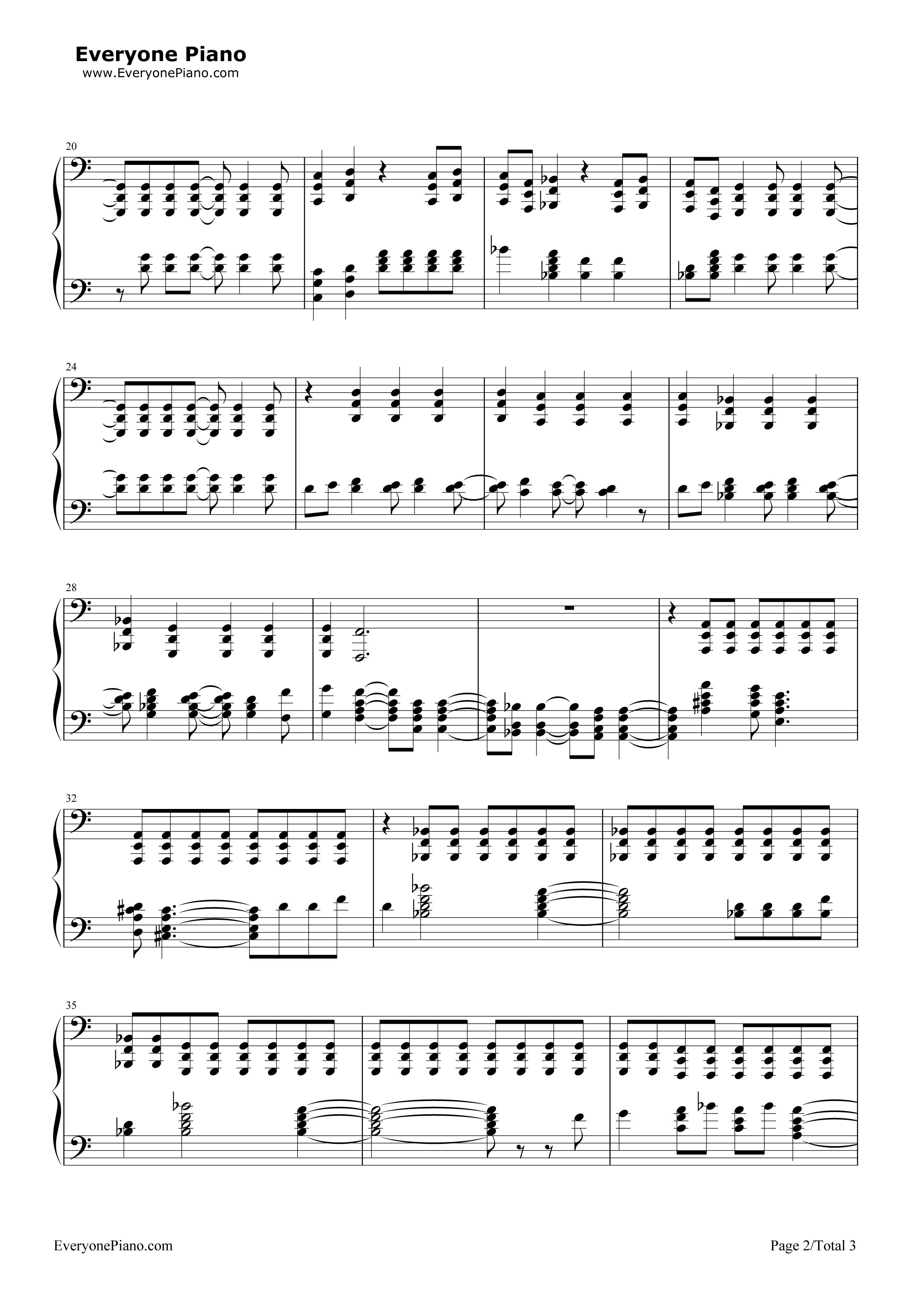 Locked Out Of Heaven-Bruno Mars Stave Preview 2-Free Piano Sheet Music u0026 Piano Chords