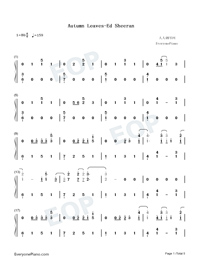 Autumn Leaves-Ed Sheeran-Numbered-Musical-Notation-Preview-1