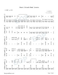 Heart Attack-Demi Lovato-Numbered-Musical-Notation-Preview-1