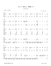 Melt-Hatsune Miku: Project Diva-Numbered-Musical-Notation-Preview-1