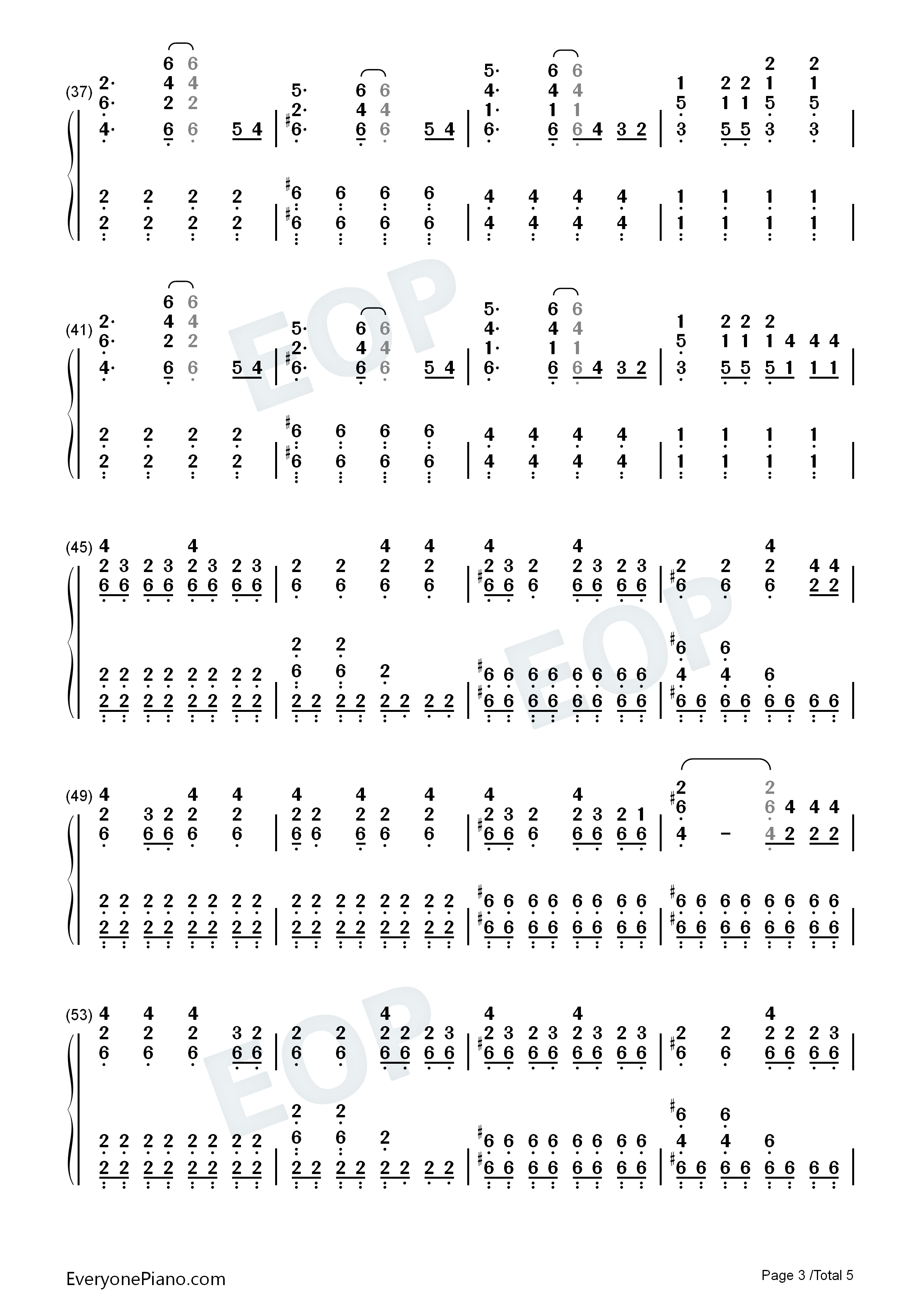 My Songs Know What You Did In The Dark Numbered Musical Notation Preview 3-Free Piano Sheet ...