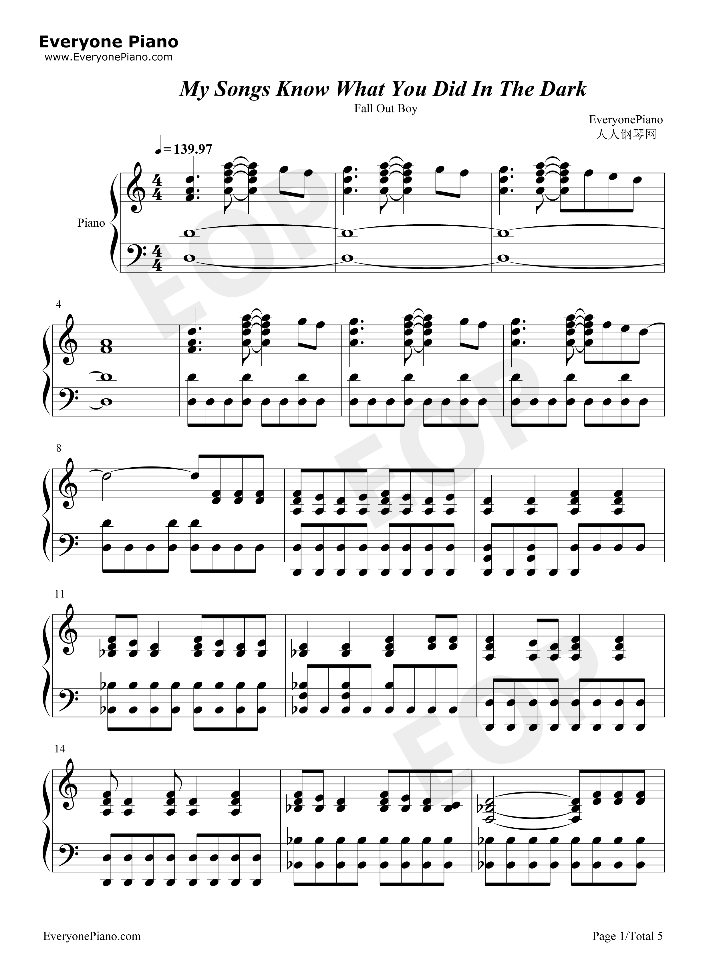 My Songs Know What You Did In The Dark Stave Preview 1-Free Piano Sheet Music u0026 Piano Chords