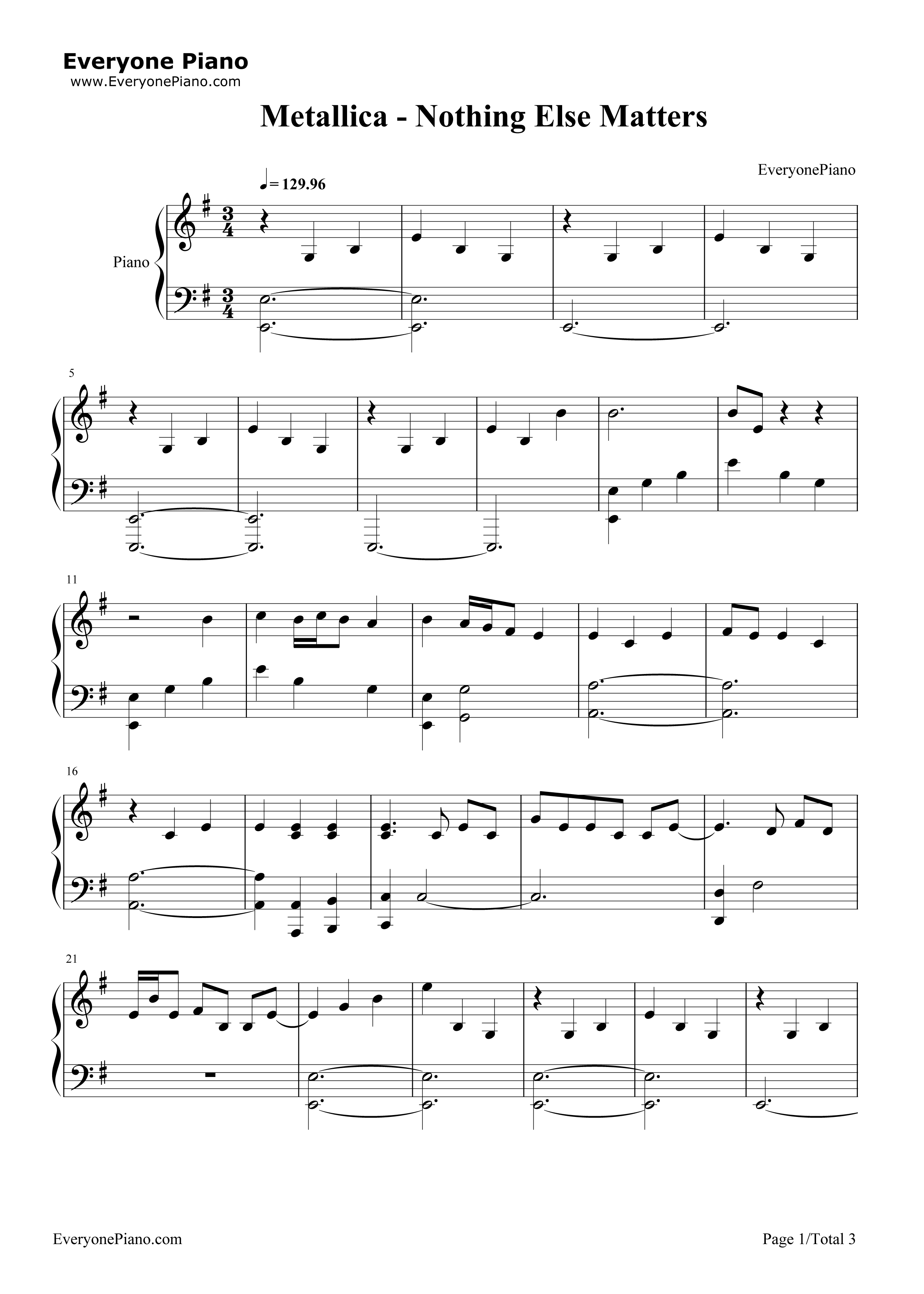 Nothing else matters metallica stave preview 1 free piano sheet listen now print sheet nothing else matters metallica stave preview 1 hexwebz Image collections
