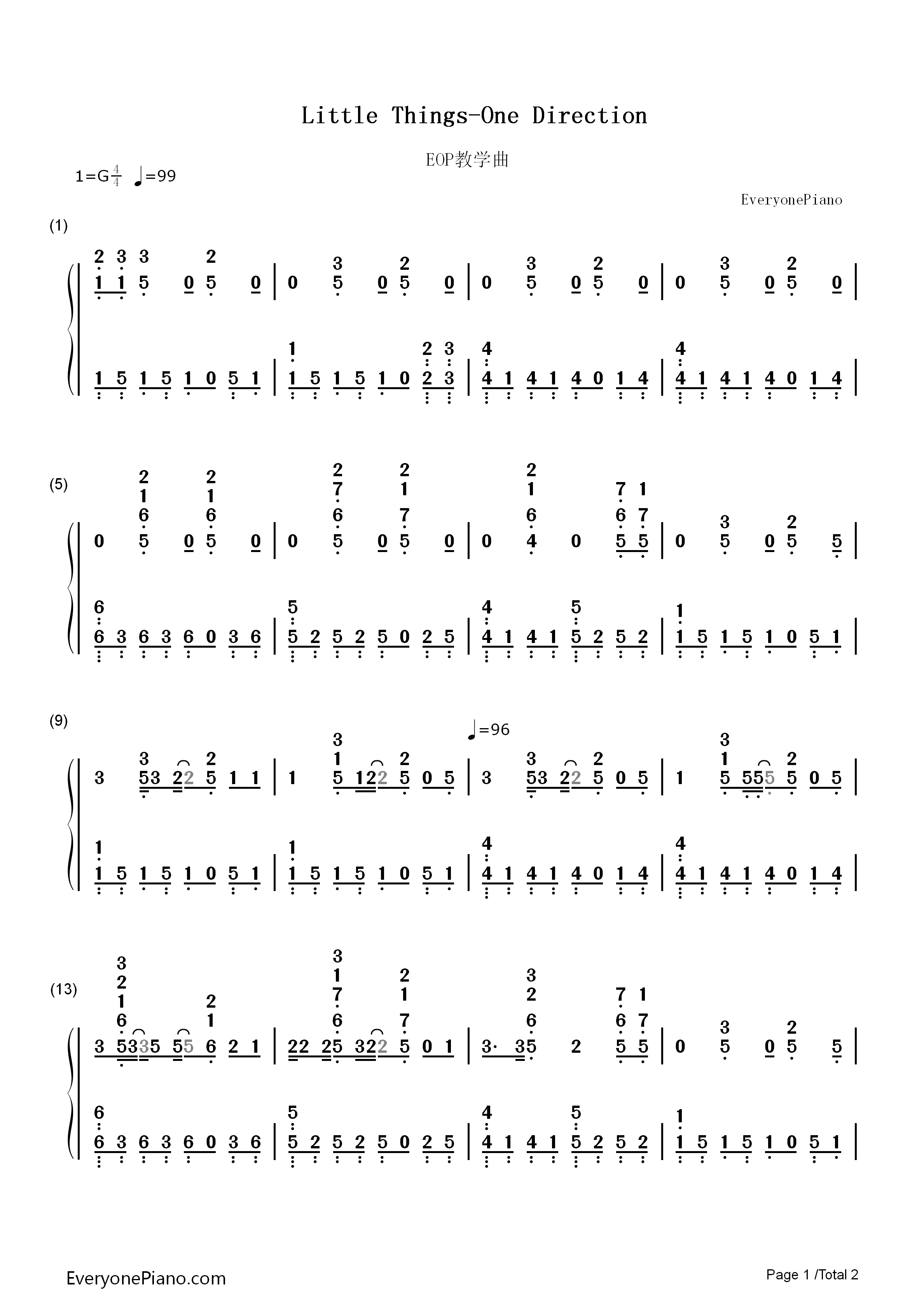 Little things one direction numbered musical notation preview 1 listen now print sheet little things one direction numbered musical notation preview 1 hexwebz Images