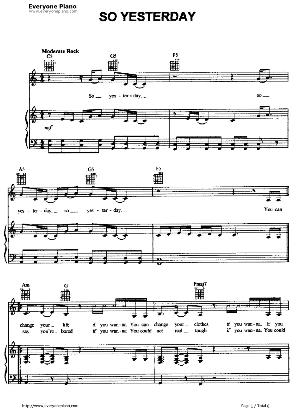 ... -Hilary Duff Stave Preview 1-Free Piano Sheet Music & Piano Chords