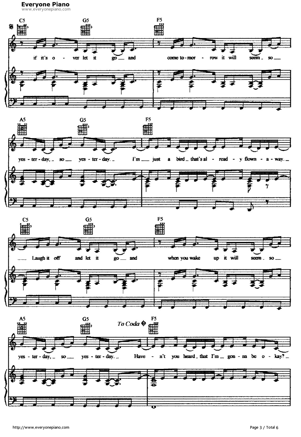 So Yesterday-Hilary Duff Stave Preview 3- Free Piano Sheet ...
