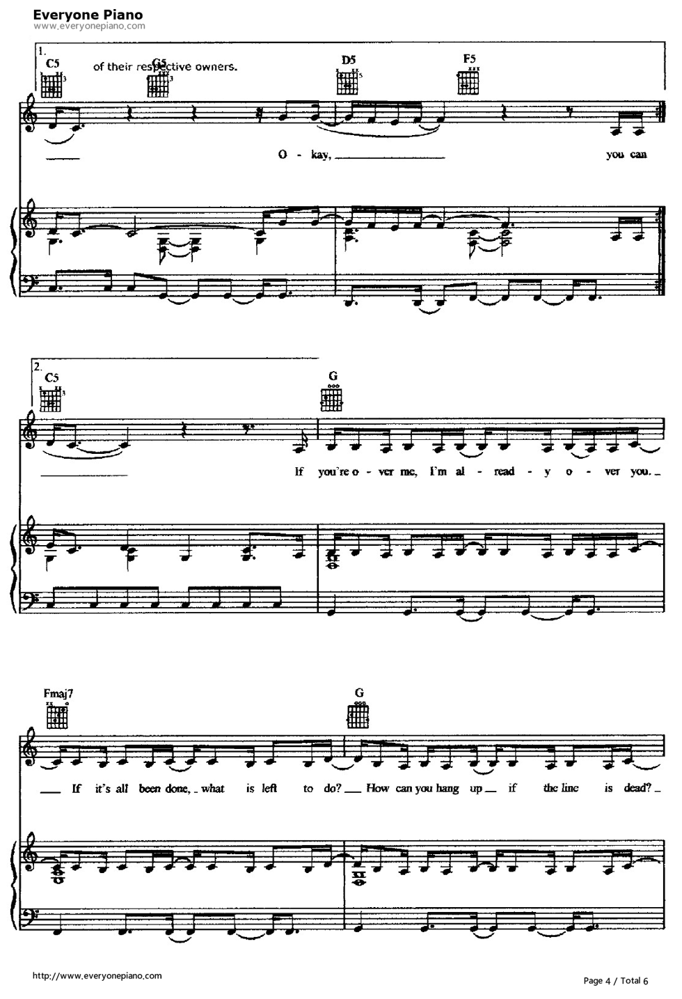 ... -Hilary Duff Stave Preview 4-Free Piano Sheet Music & Piano Chords