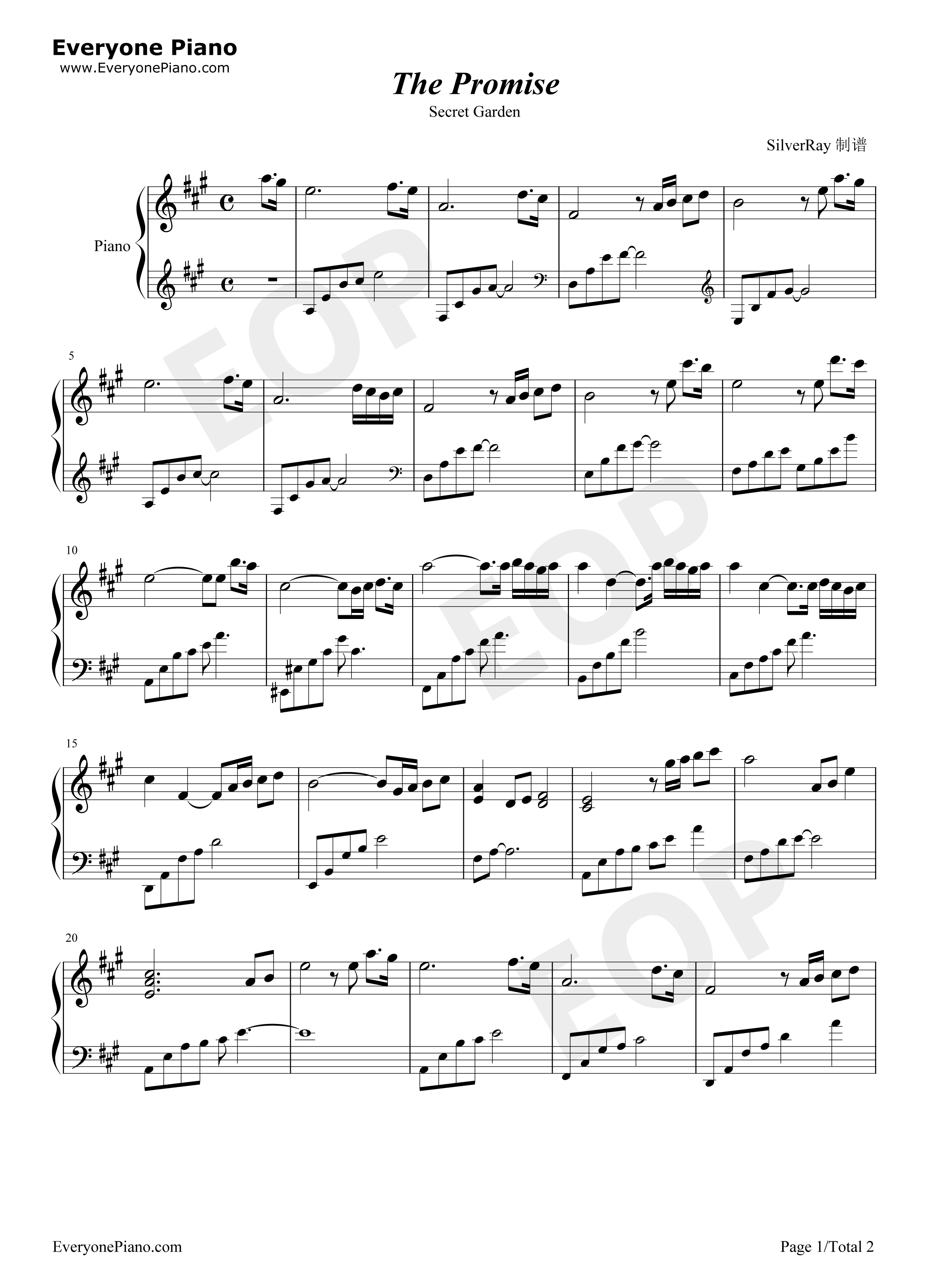 The Promise Secret Garden Stave Preview 1 Free Piano Sheet Music Piano Chords