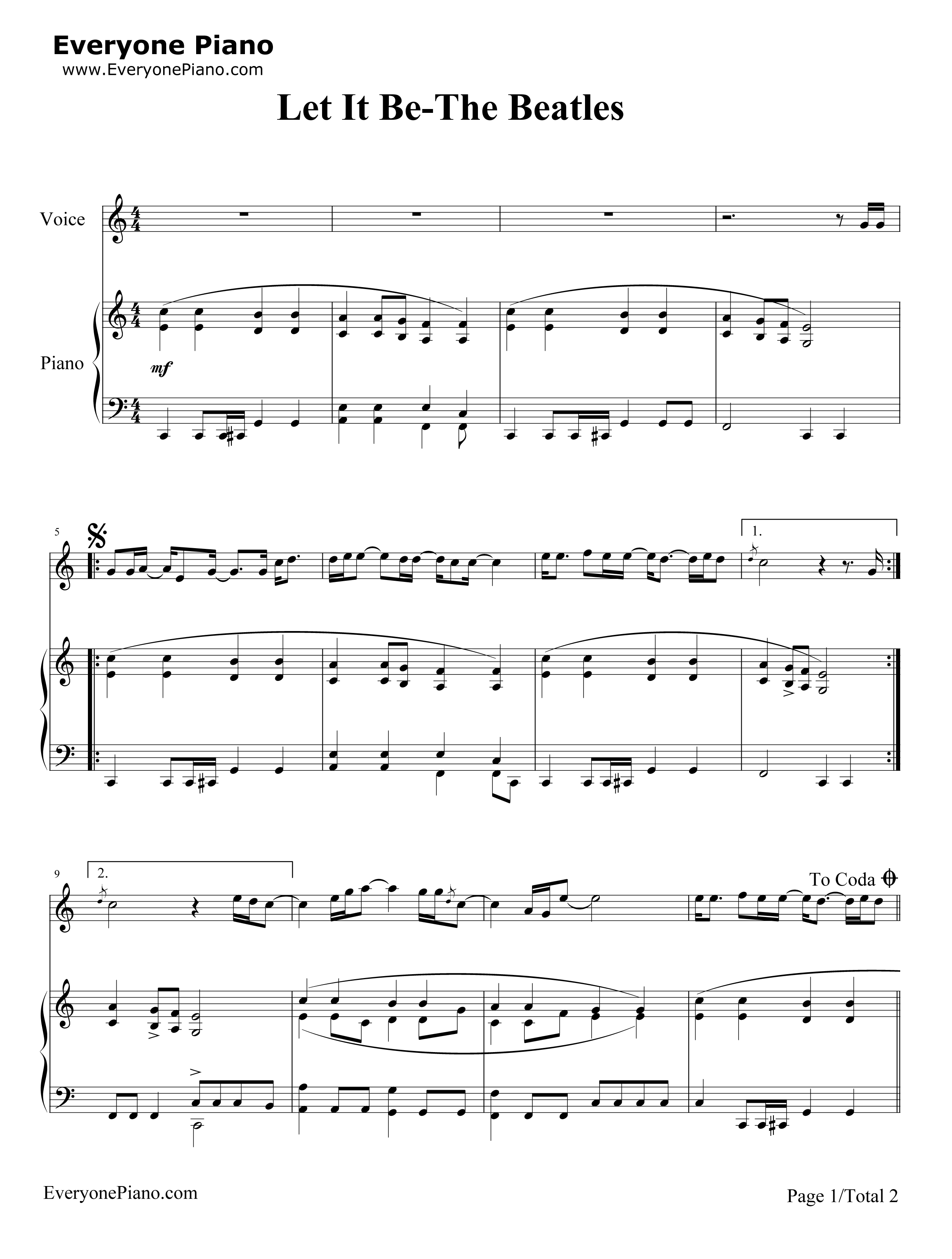 Let It Be-The Beatles Stave Preview 1-Free Piano Sheet Music u0026 Piano Chords