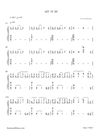 Let It Go Full Version-Frozen OST Numbered Musical Notation Preview 1