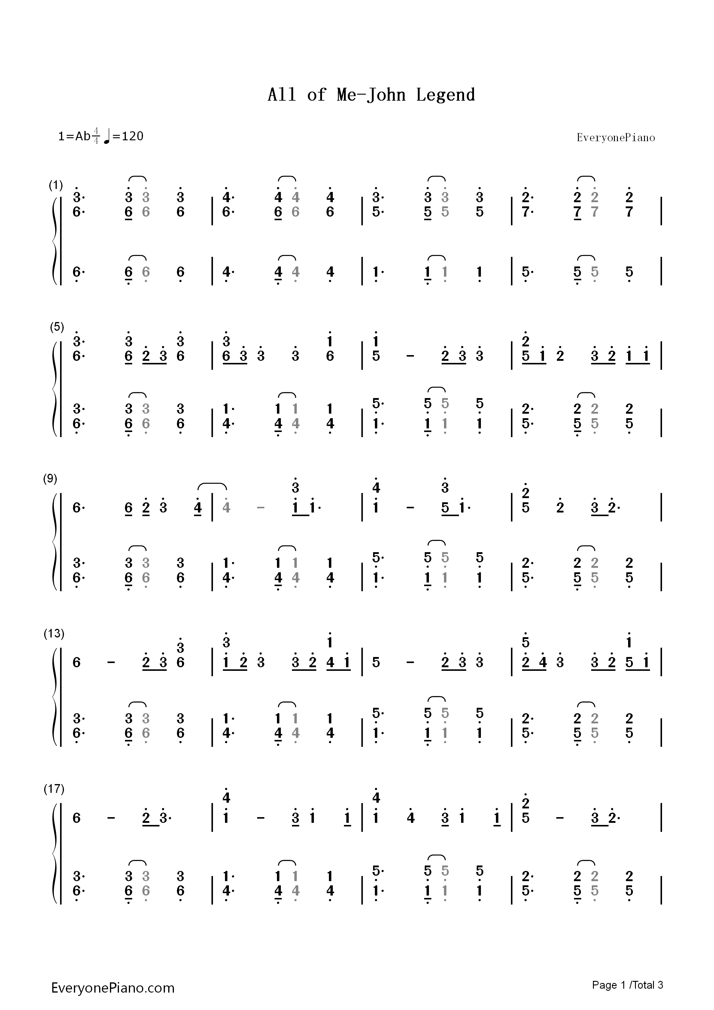 All Of Me Piano Sheet Music all of me-john legend numbered musical notation preview