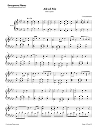 All Of Me John Legend Free Piano Sheet Music Piano Chords