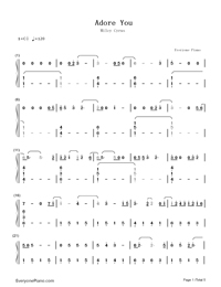 Adore You-Miley Cyrus-Numbered-Musical-Notation-Preview-1