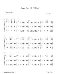 Happy-Pharrell Williams Numbered Musical Notation Preview 1