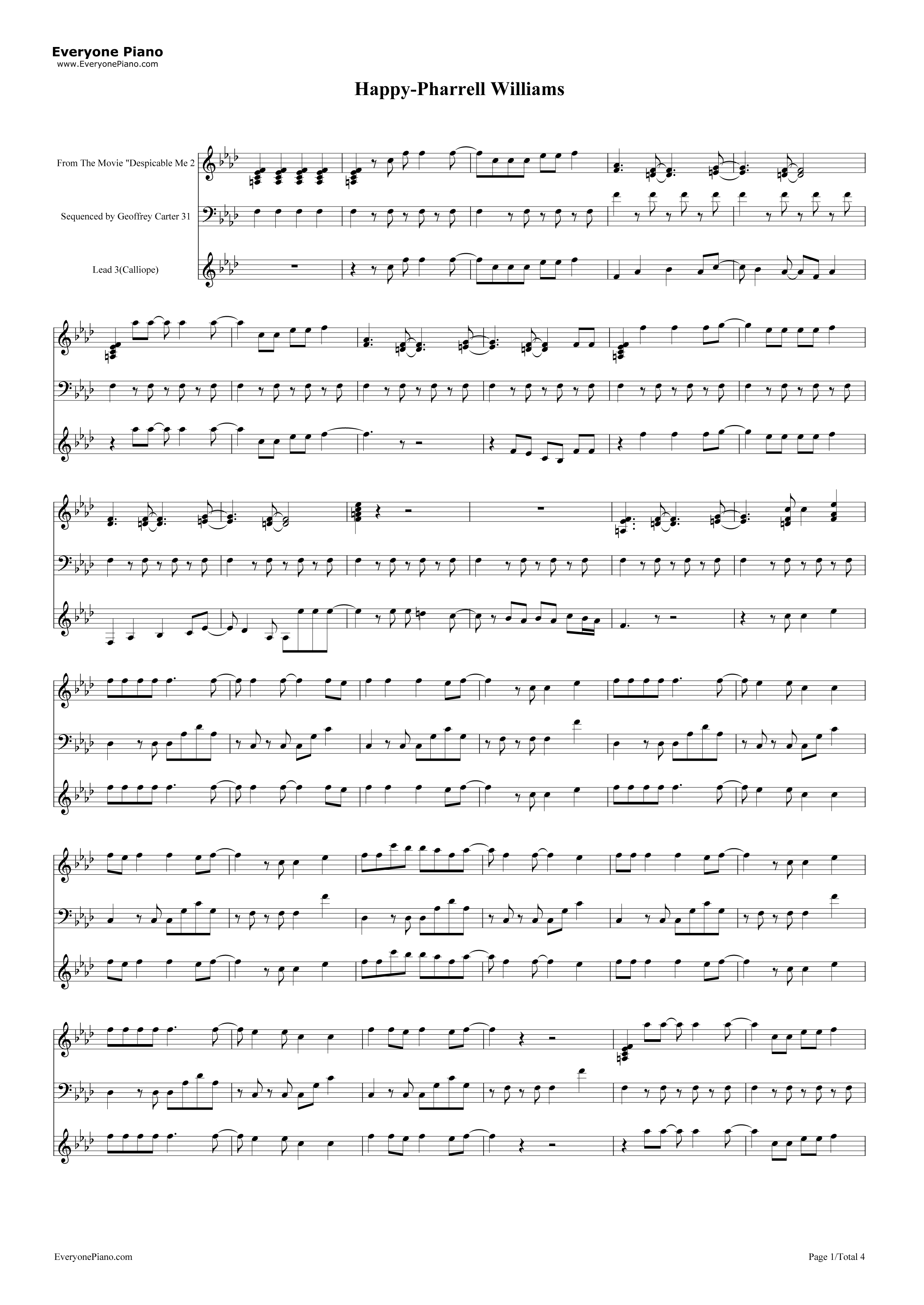 Happy pharrell williams stave preview 1 free piano sheet music listen now print sheet happy pharrell williams stave preview 1 hexwebz Gallery