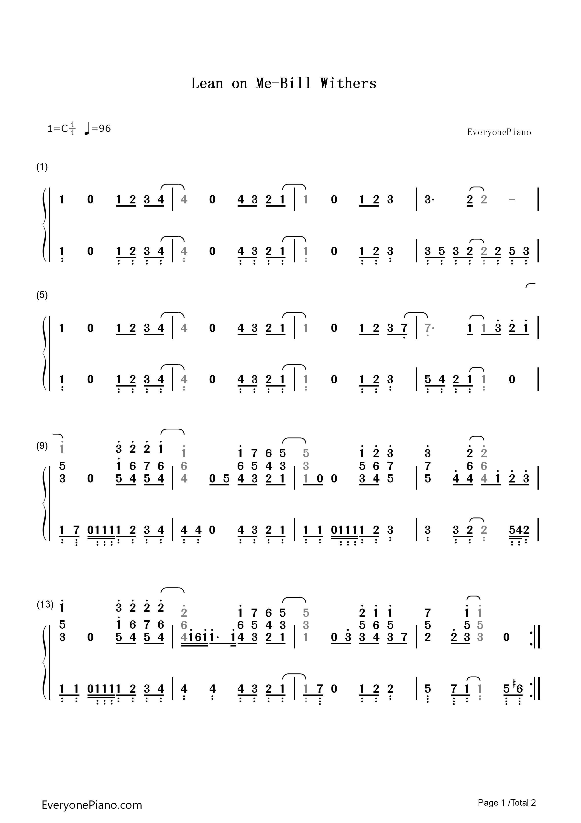 Lean on Me-Bill Withers Numbered Musical Notation Preview 1-Free Piano Sheet Music u0026 Piano Chords