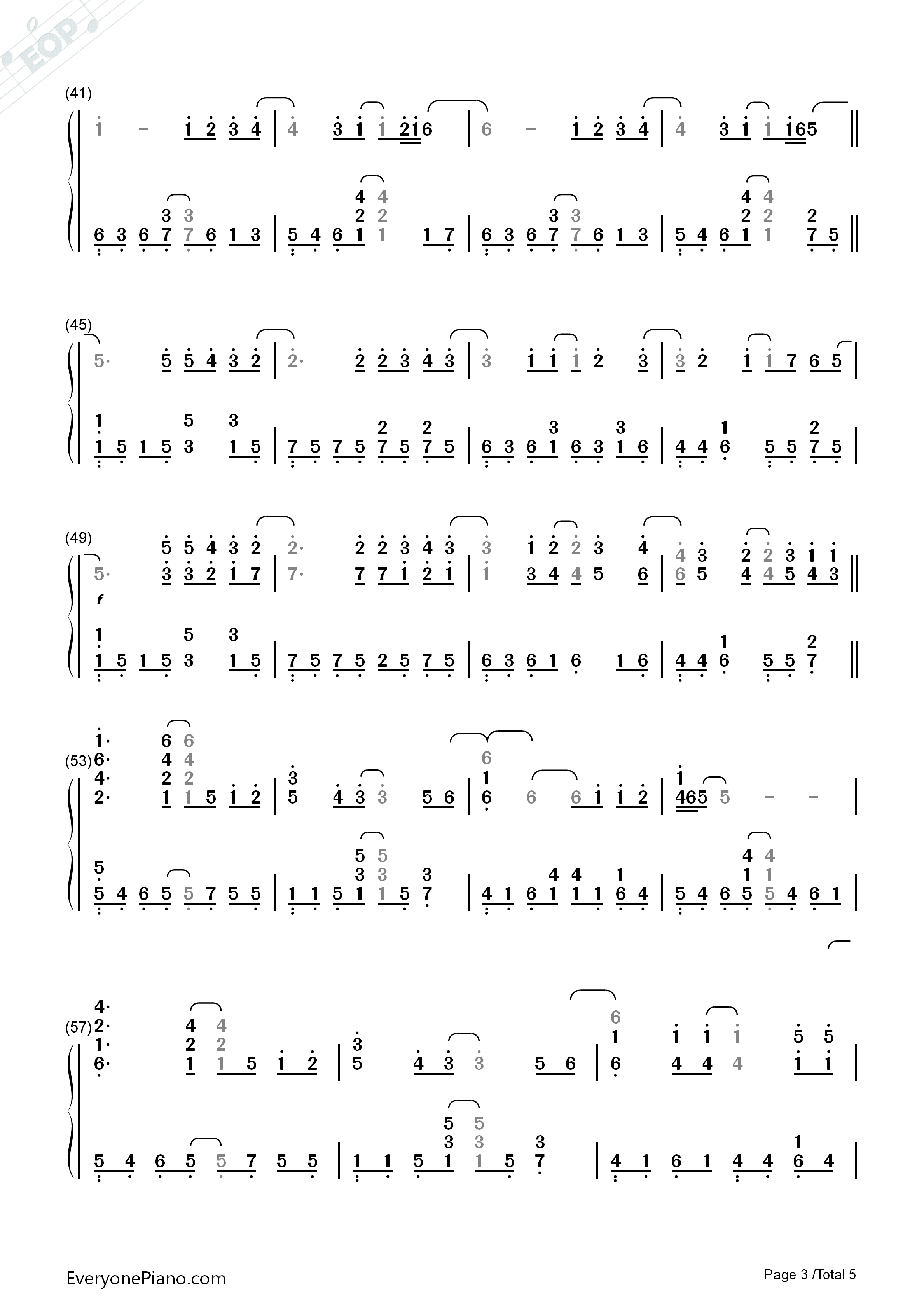 Right Here Waiting Numbered Musical Notation Preview 3-Free Piano Sheet Music u0026 Piano Chords