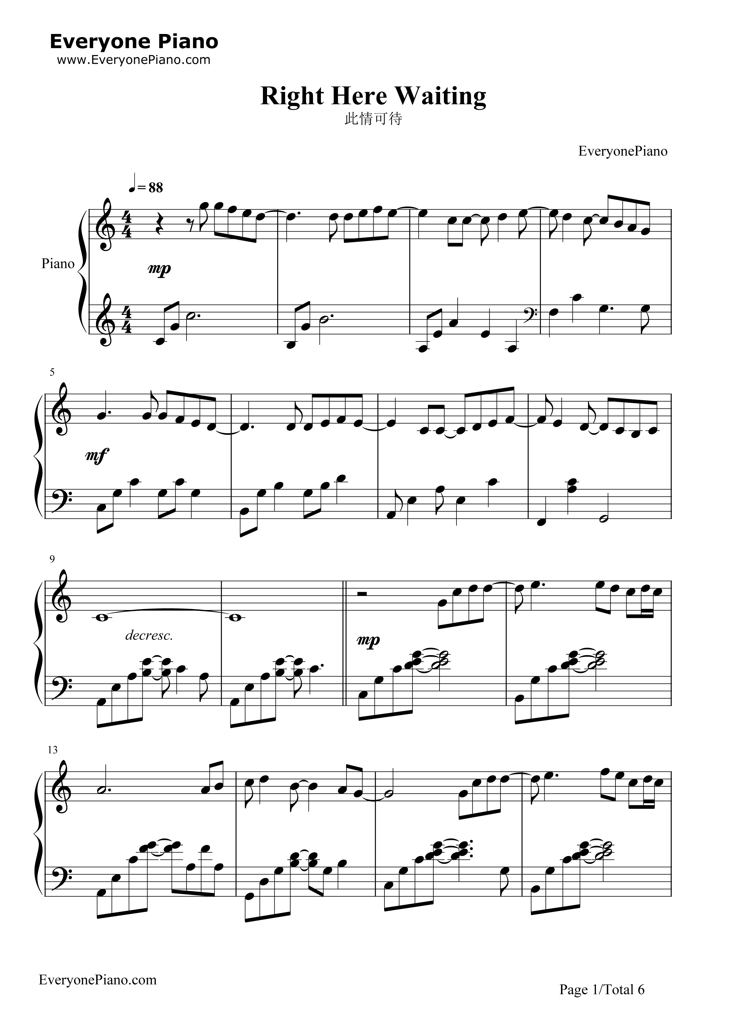Right Here Waiting Stave Preview 1-Free Piano Sheet Music u0026 Piano Chords