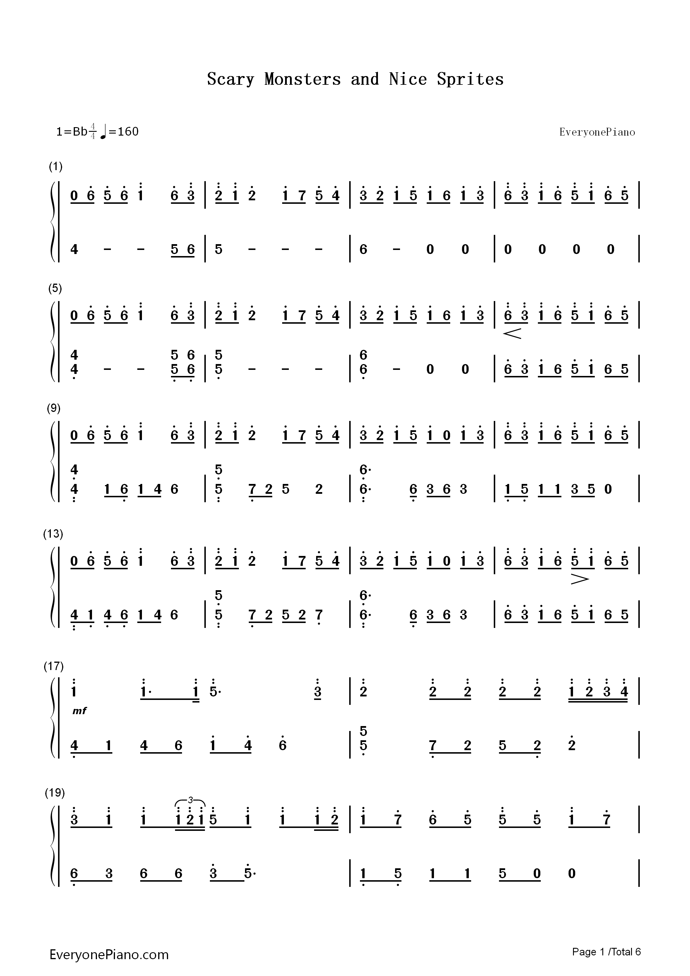 Scary Monsters and Nice Sprites-Skrillex Numbered Musical Notation Preview 1-Free Piano Sheet ...