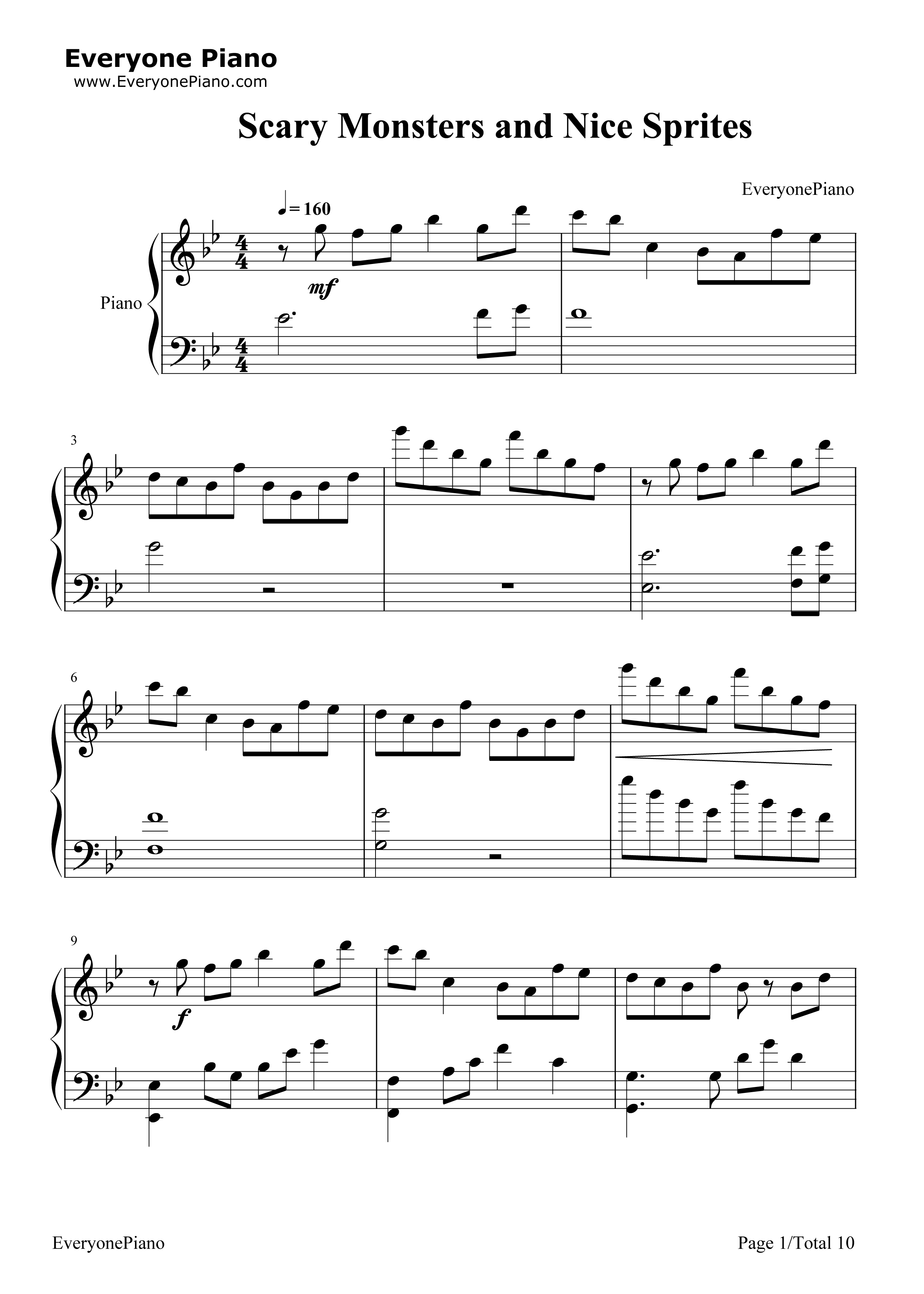 Scary Monsters and Nice Sprites-Skrillex Stave Preview 1-Free Piano Sheet Music u0026 Piano Chords