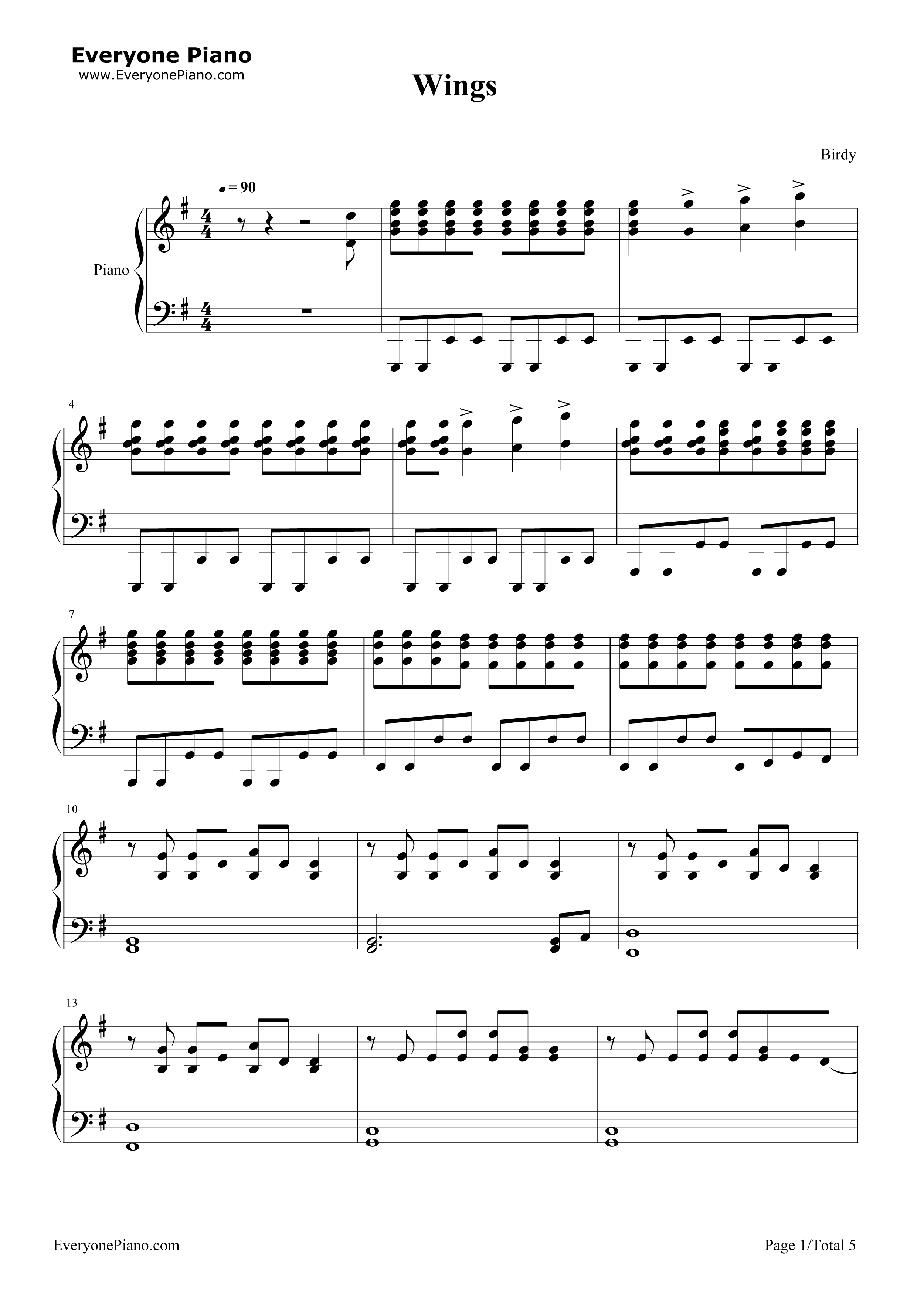 Wings birdy stave preview 1 free piano sheet music piano chords listen now print sheet wings birdy stave preview 1 hexwebz Gallery