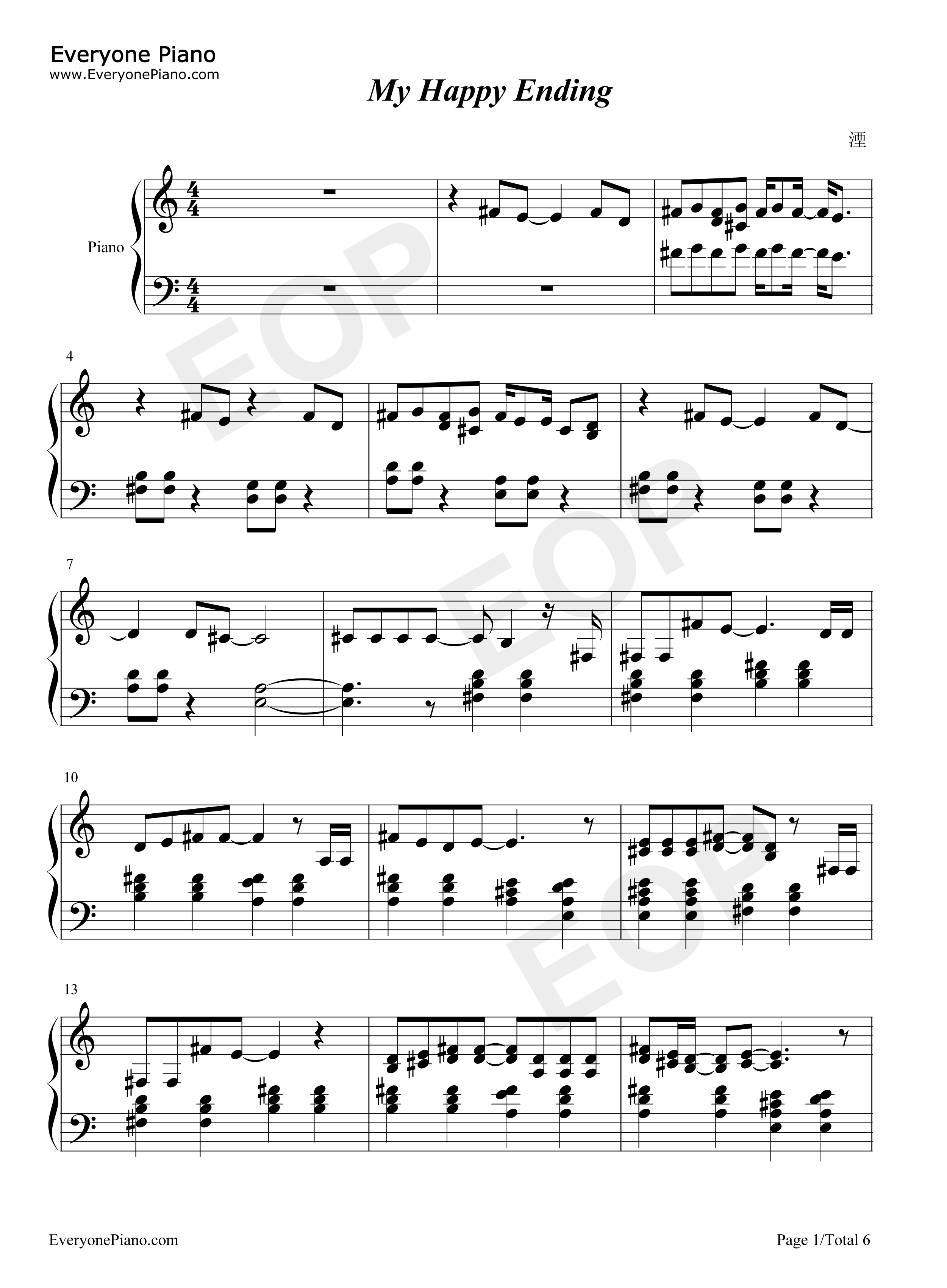 My happy ending avril lavigne stave preview 1 free piano sheet listen now print sheet my happy ending avril lavigne stave preview 1 hexwebz Gallery