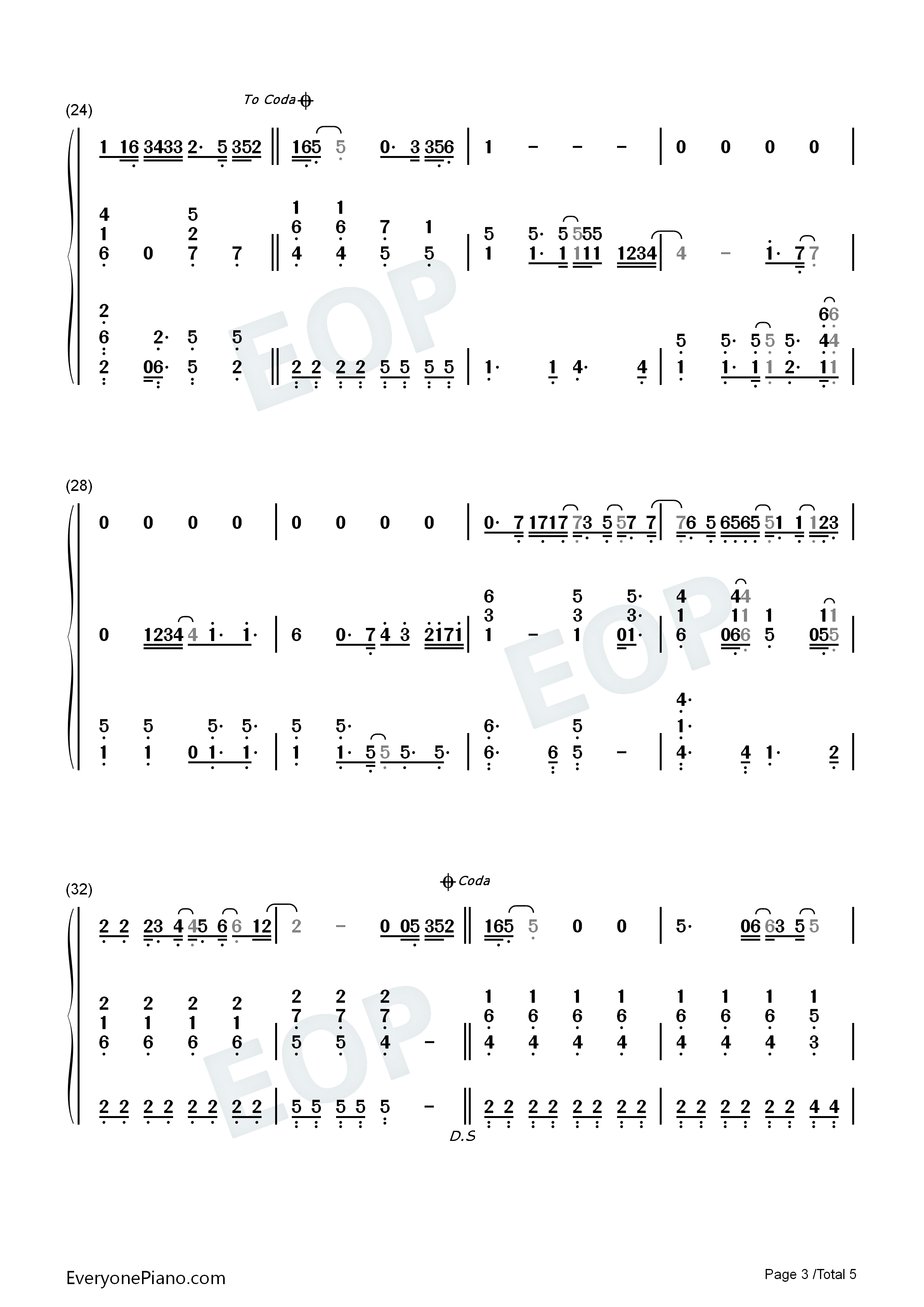 Bad day daniel powter numbered musical notation preview 3