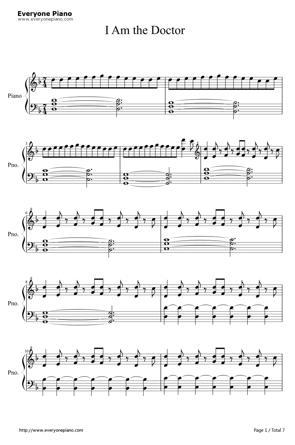 I Am The Doctor-Doctor Who 11th Theme Stave Preview 1-Free Piano Sheet Music u0026 Piano Chords