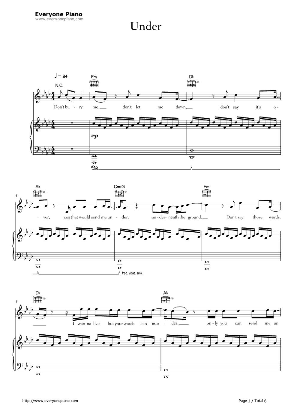 partition piano under alex hepburn