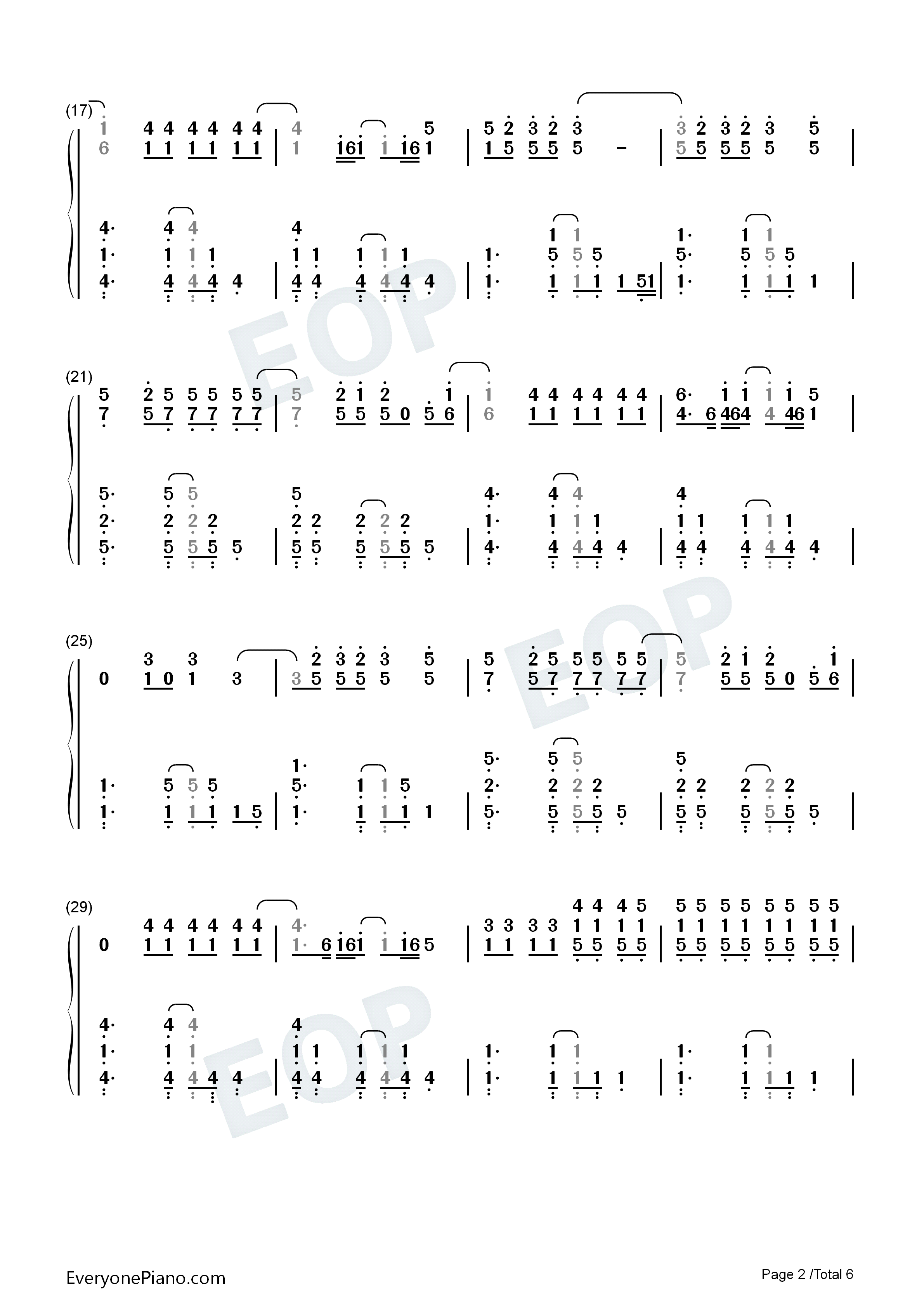 Yellow-Coldplay Numbered Musical Notation Preview 2-Free Piano Sheet Music u0026 Piano Chords