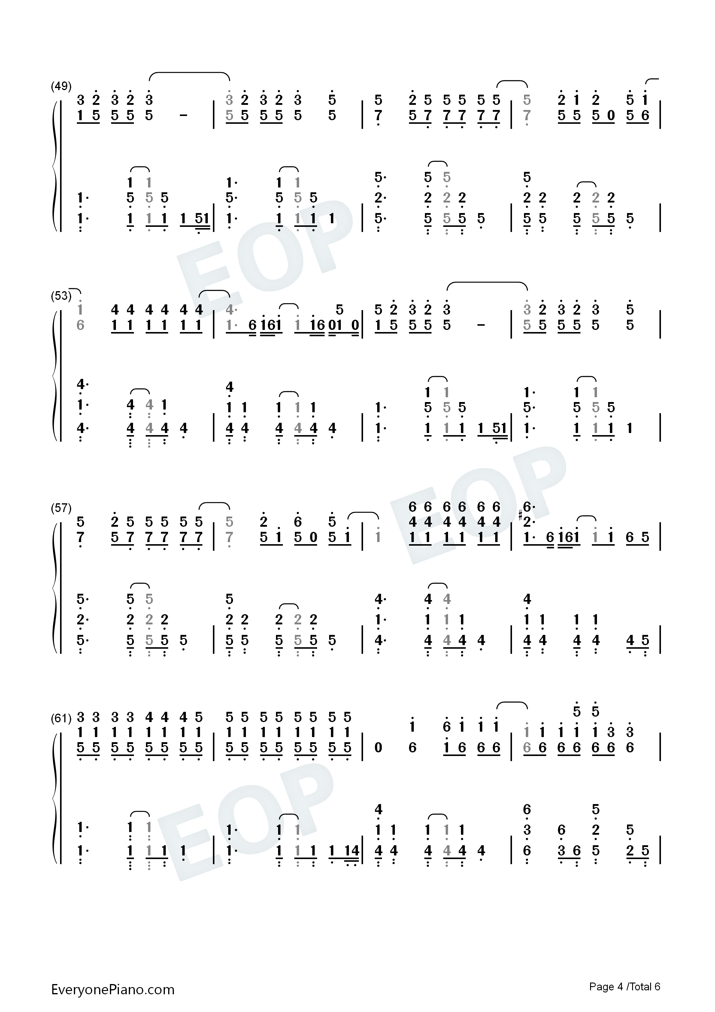 Yellow-Coldplay Numbered Musical Notation Preview 4-Free Piano Sheet Music u0026 Piano Chords