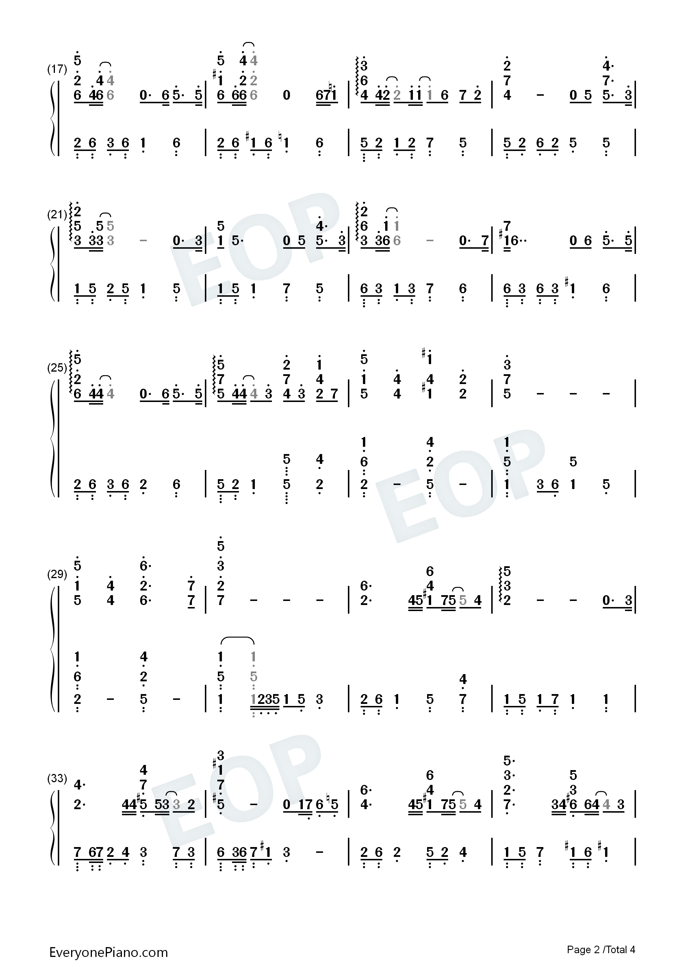 My Destiny-My Love from the Star ED Numbered Musical Notation Preview 2
