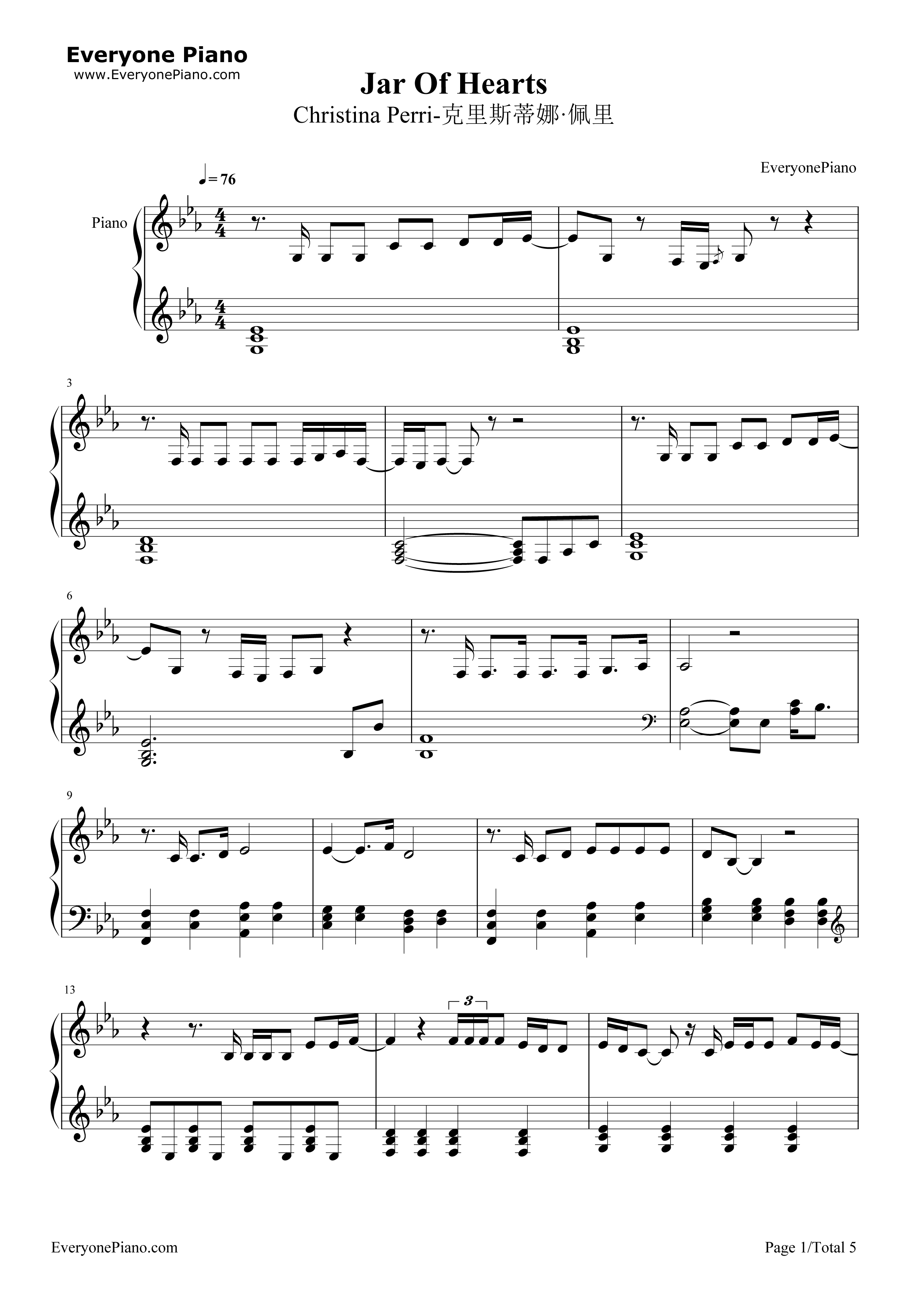 Jar of Hearts-Christina Perri Stave Preview 1-Free Piano Sheet Music u0026 Piano Chords