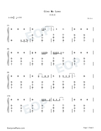 Give Me Love-Ed Sheeran Numbered Musical Notation Preview 1