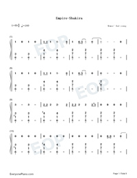 Empire-Shakira-Numbered-Musical-Notation-Preview-1