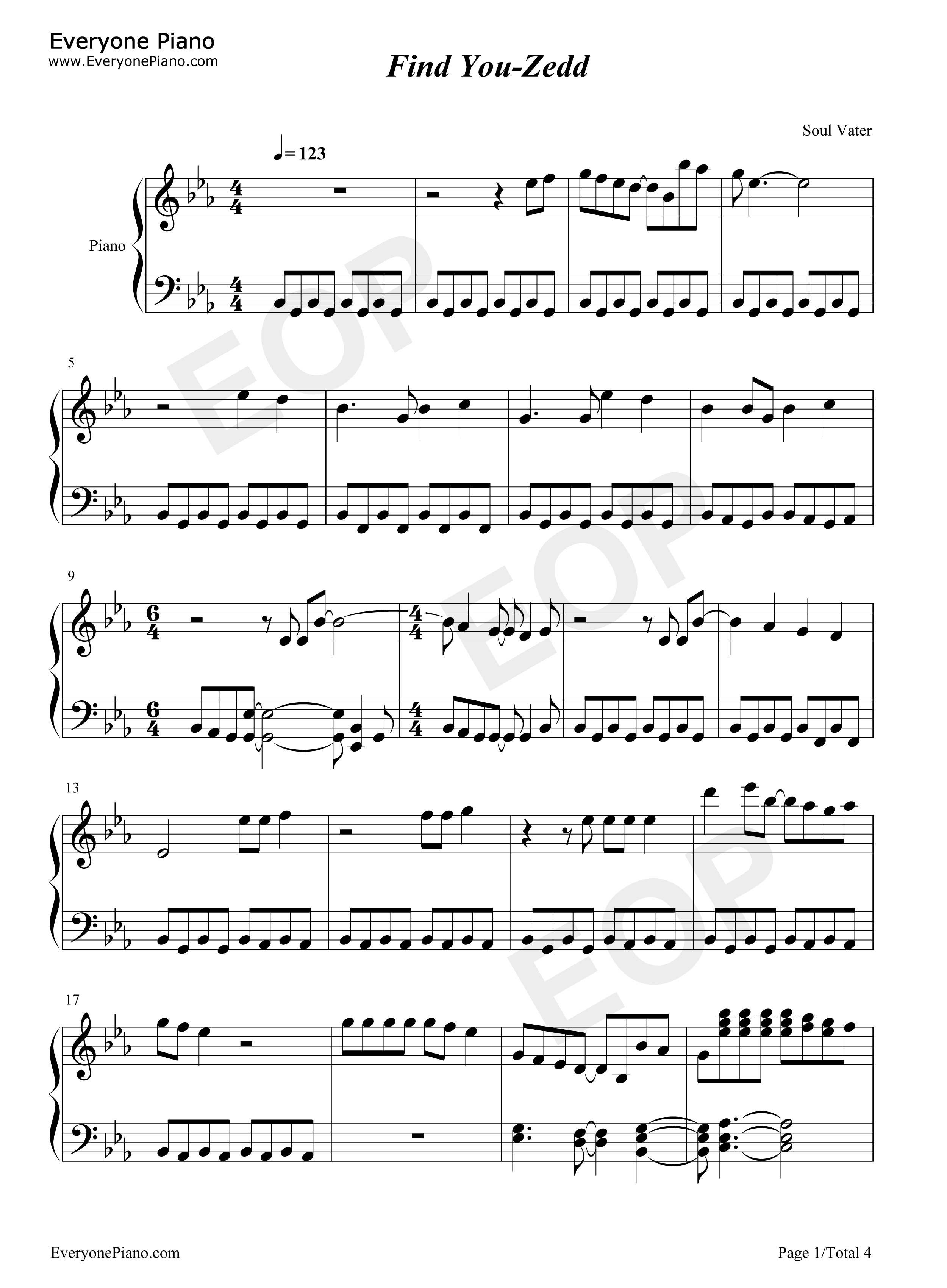 Find you zedd stave preview 1 free piano sheet music amp piano chords