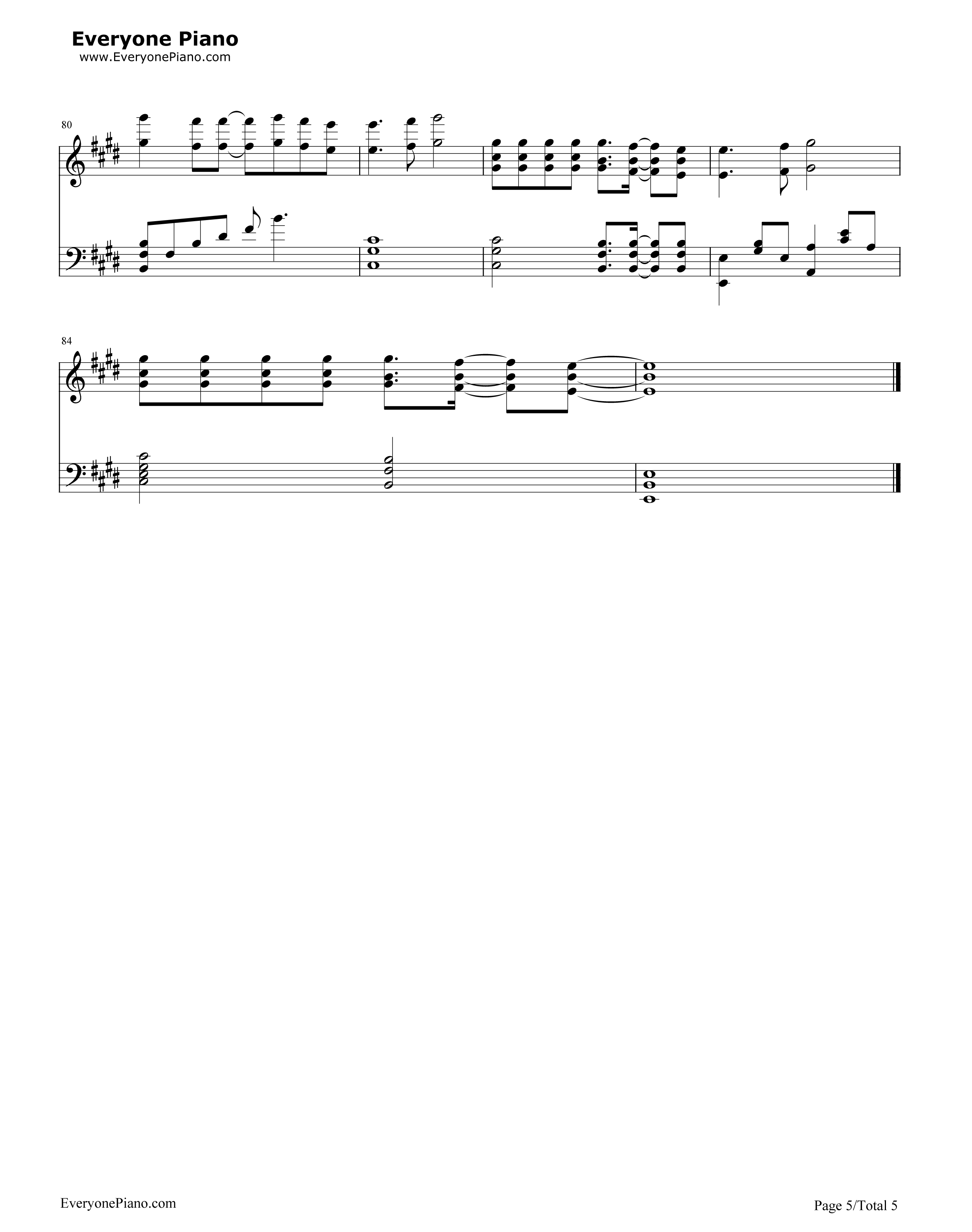What Makes You Beautiful-One Direction Stave Preview 5-Free Piano Sheet Music u0026 Piano Chords