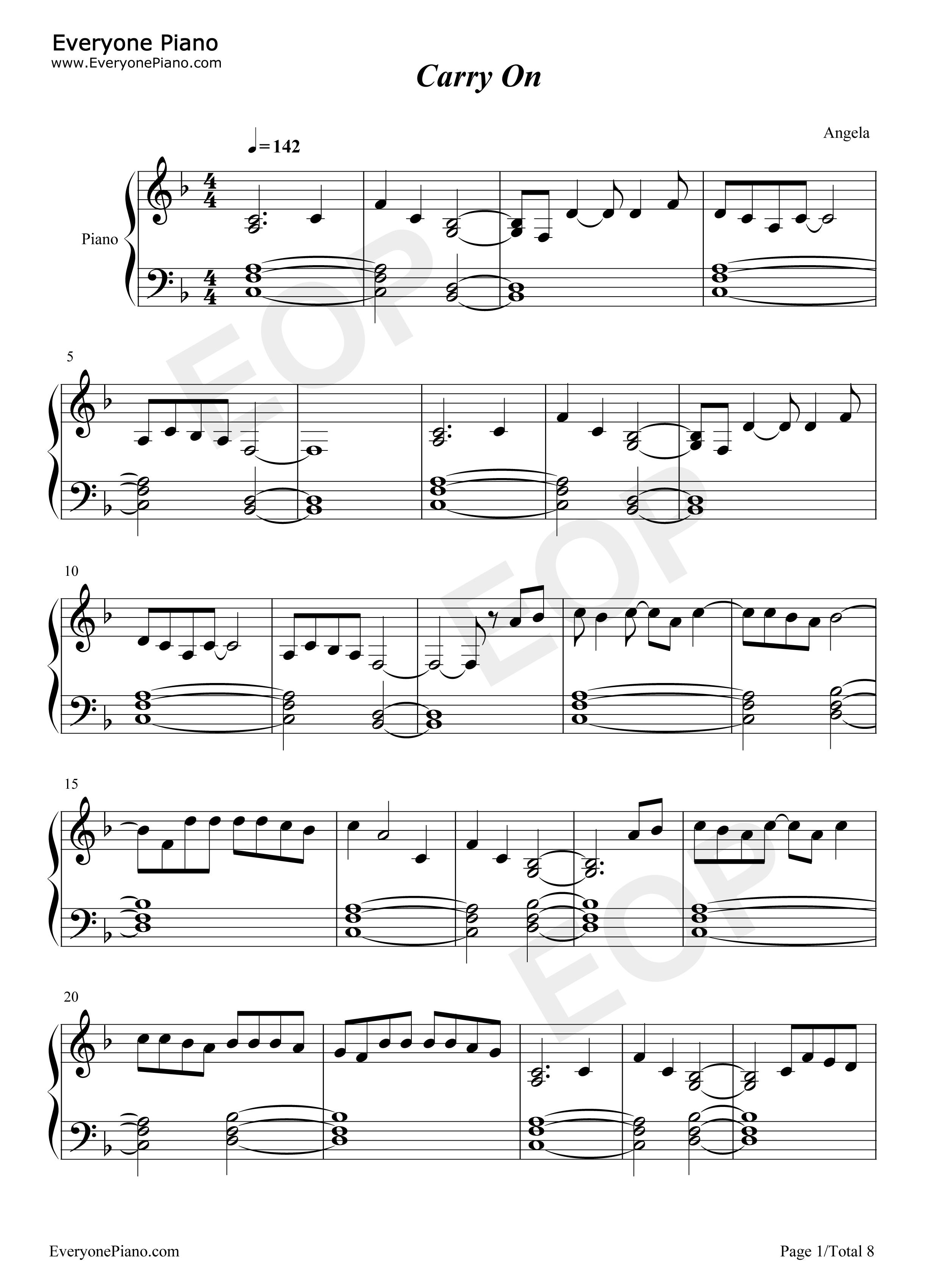 Carry On Sheet Music Ottodeemperor