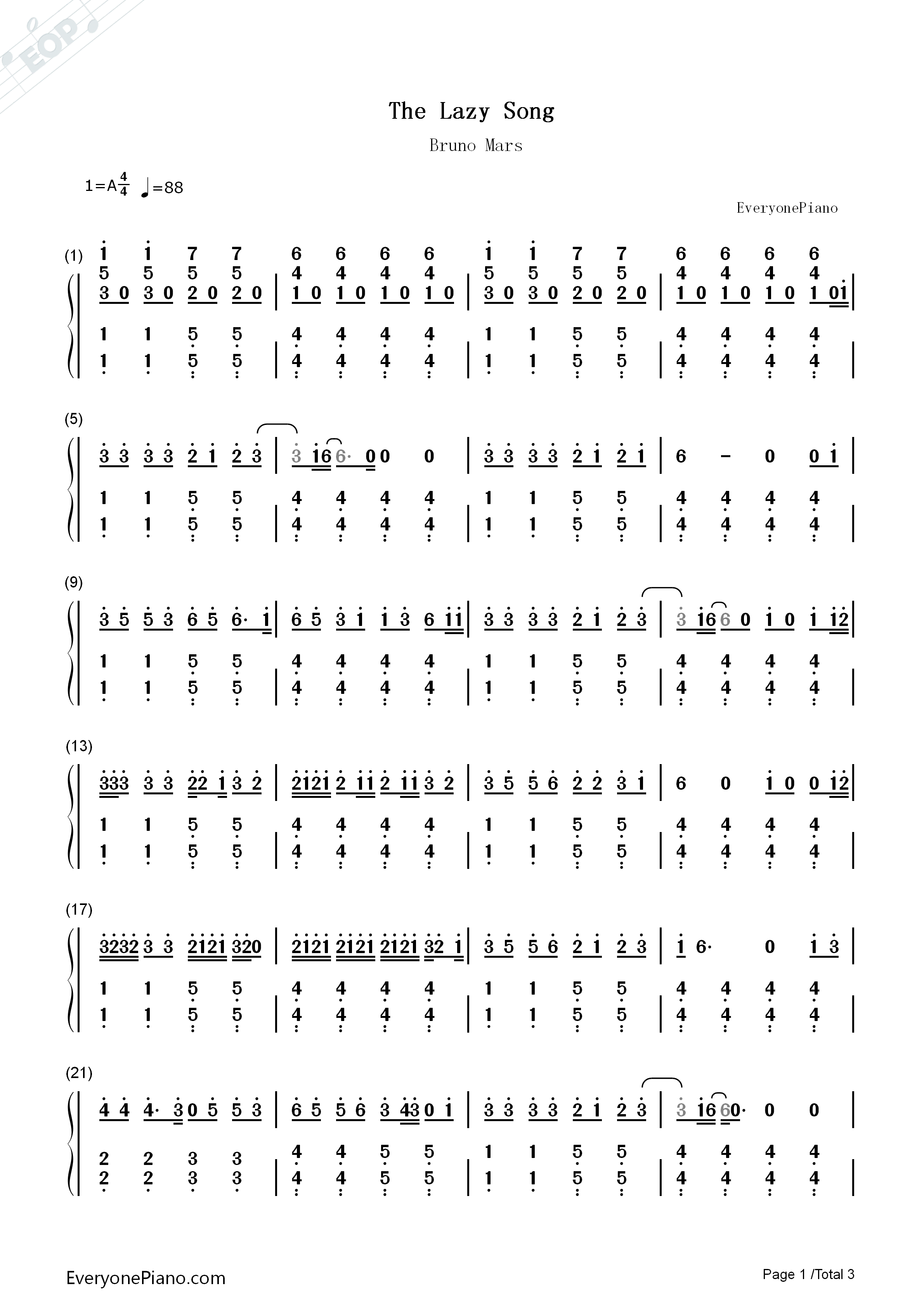 The lazy song bruno mars numbered musical notation preview 1 free listen now print sheet the lazy song bruno mars numbered musical notation preview 1 hexwebz Images