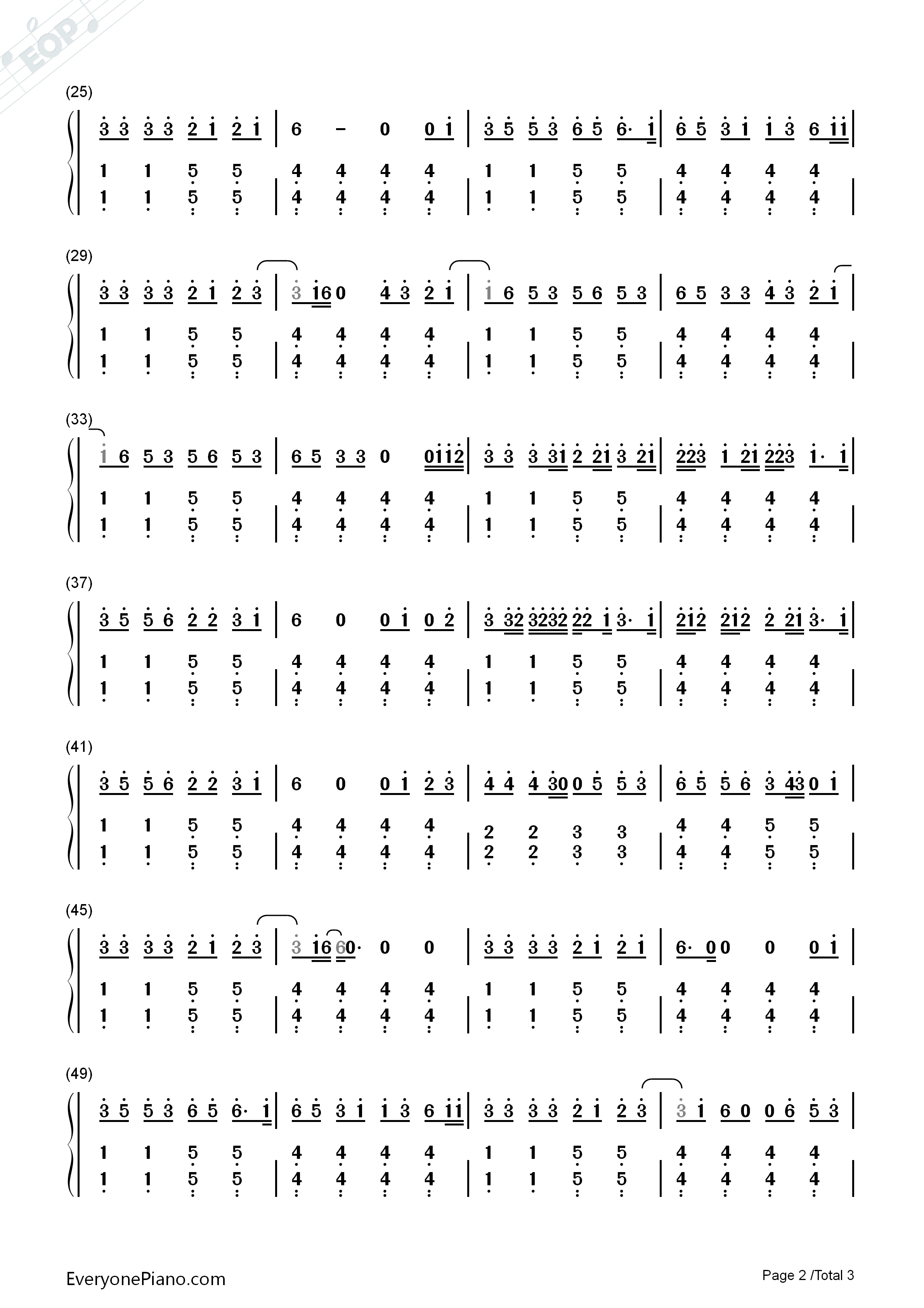 The lazy song bruno mars numbered musical notation preview 2 free listen now print sheet the lazy song bruno mars numbered musical notation preview 2 hexwebz Images