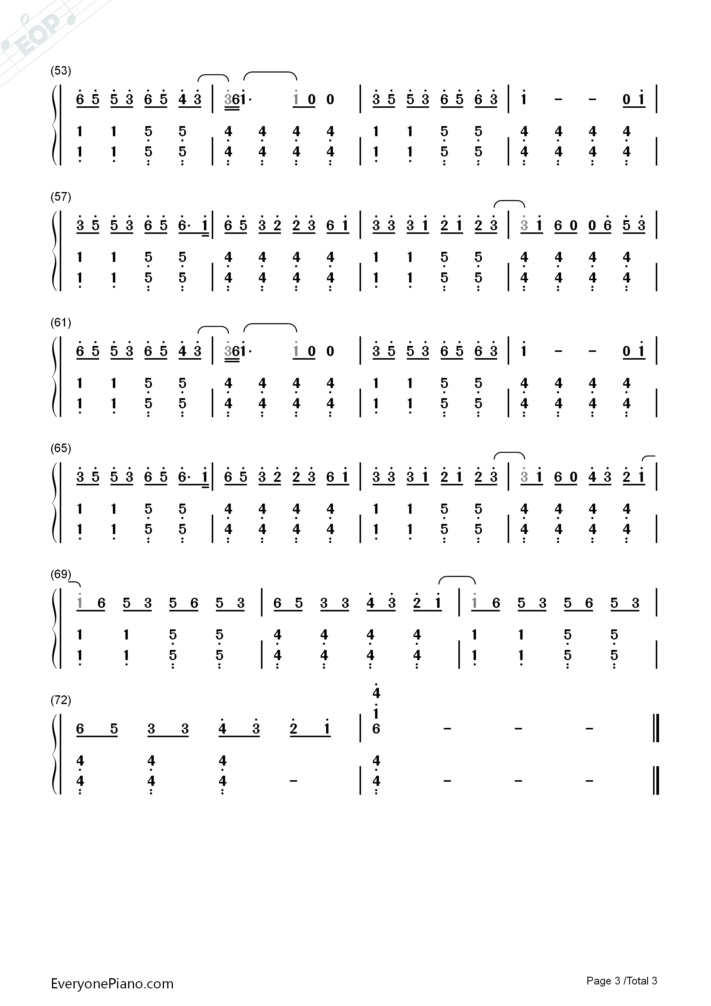 The lazy song bruno mars numbered musical notation preview 3 free listen now print sheet the lazy song bruno mars numbered musical notation preview 3 hexwebz Images