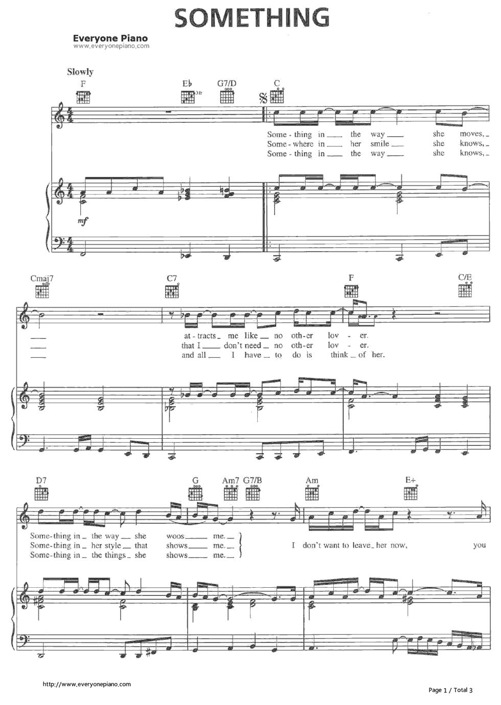 Something Beatles Sheet Music Nurufunicaasl