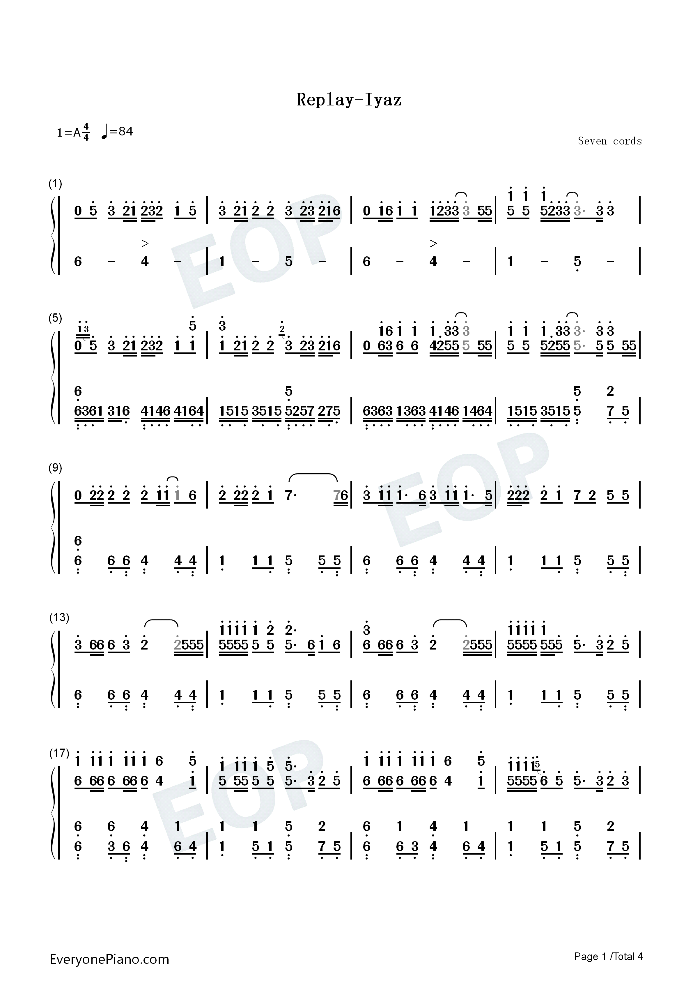 Replay iyaz numbered musical notation preview 1 free piano sheet listen now print sheet replay iyaz numbered musical notation preview 1 hexwebz Image collections