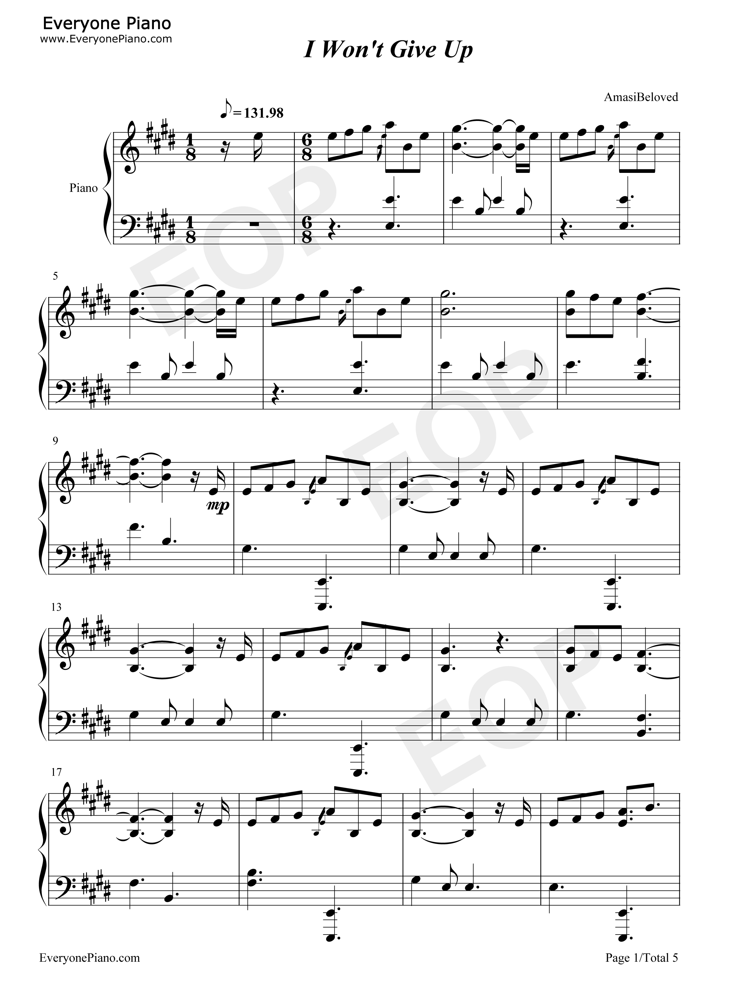 I wont give up jason mraz stave preview 1 free piano sheet music listen now print sheet i wont give up jason mraz stave preview 1 hexwebz Images