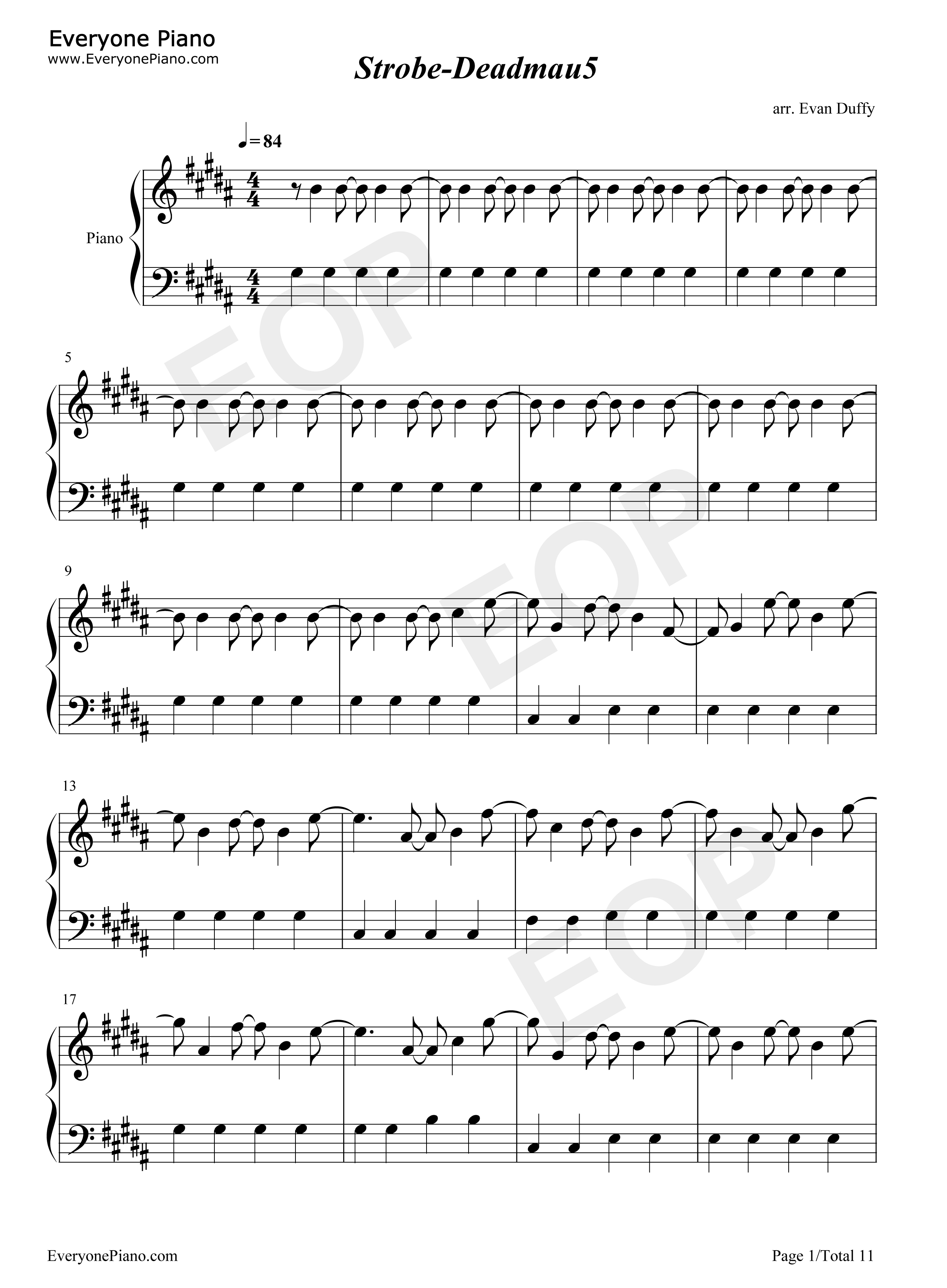 Strobe-Deadmau5 Stave Preview 1-Free Piano Sheet Music u0026 Piano Chords