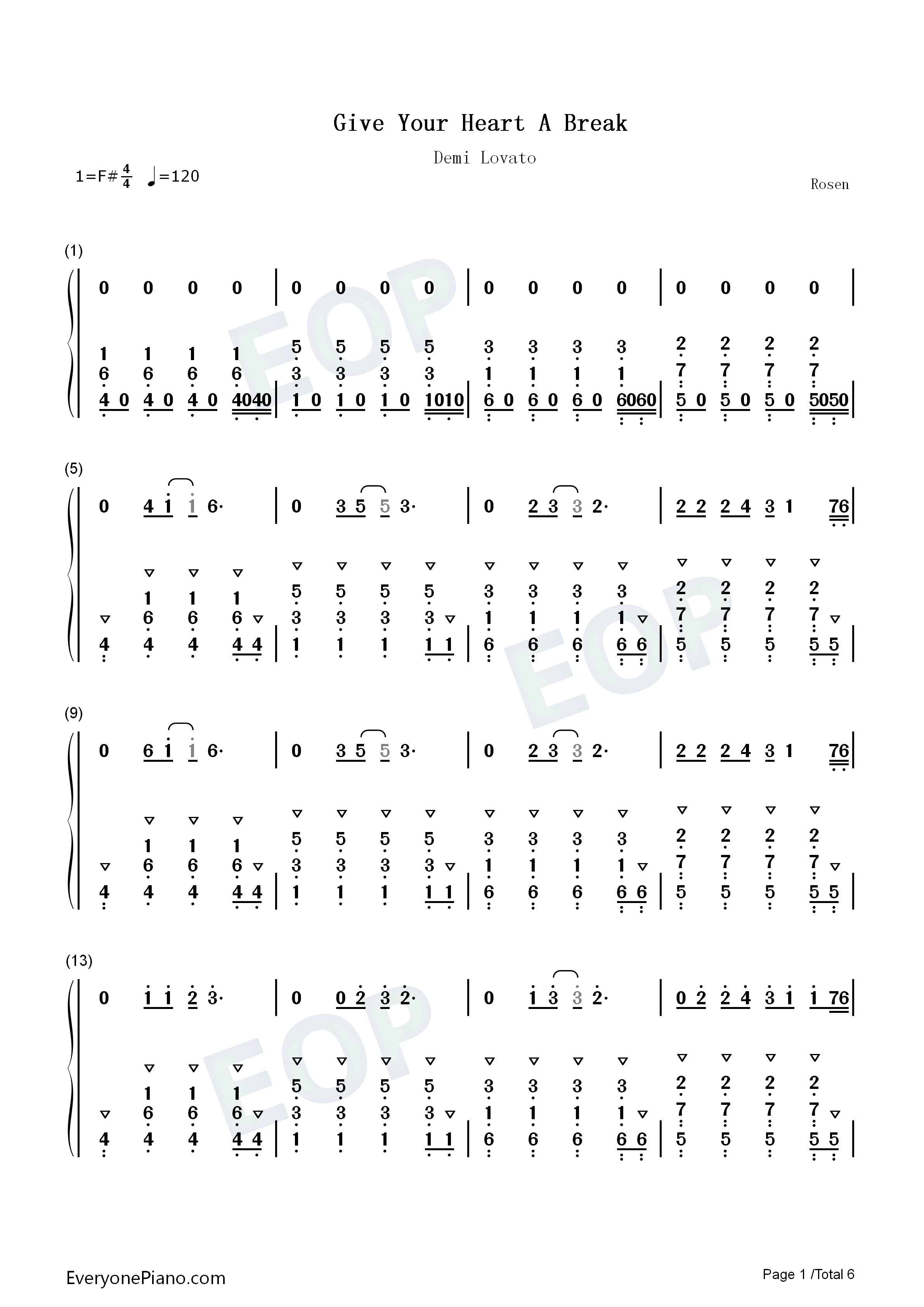 Give your heart a break demi lovato numbered musical notation listen now print sheet give your heart a break demi lovato numbered musical notation preview 1 hexwebz Choice Image