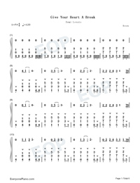 Give Your Heart A Break-Demi Lovato-Numbered-Musical-Notation-Preview-1