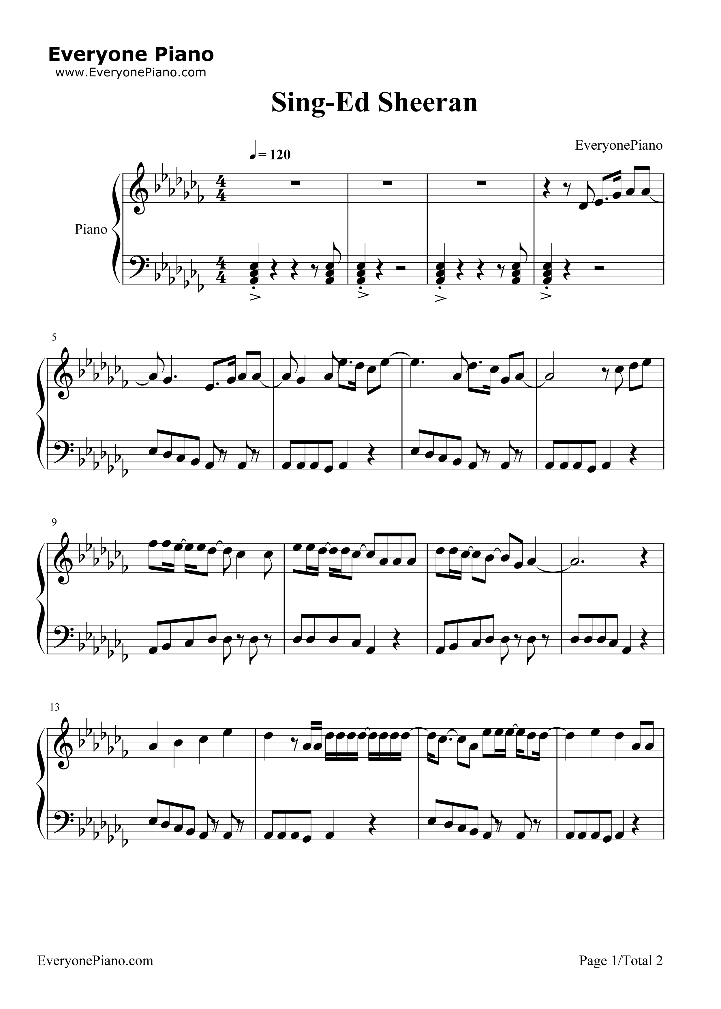 Sing-Ed Sheeran Stave Preview 1-Free Piano Sheet Music u0026 Piano Chords